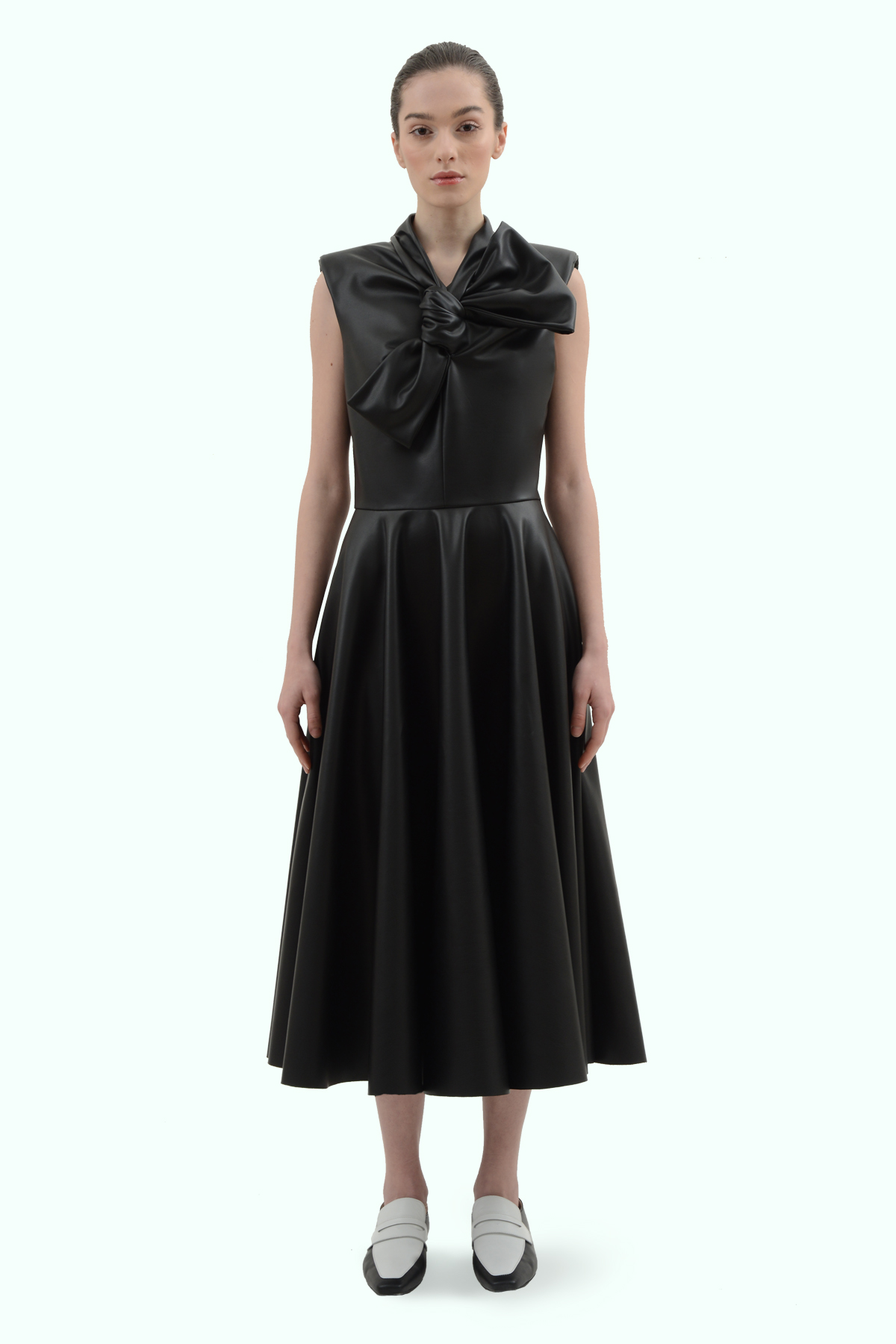 Black vegan leather bow dress 2