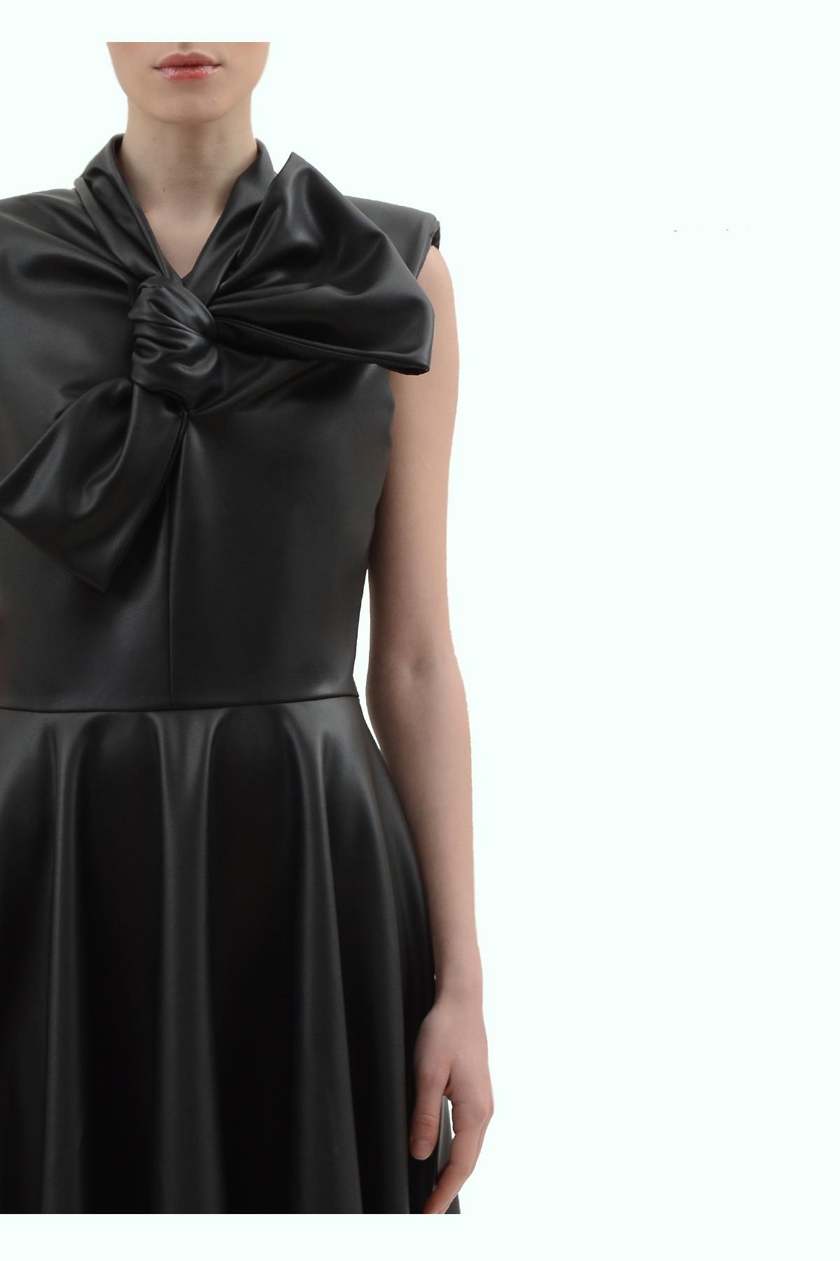 Black vegan leather bow dress 3