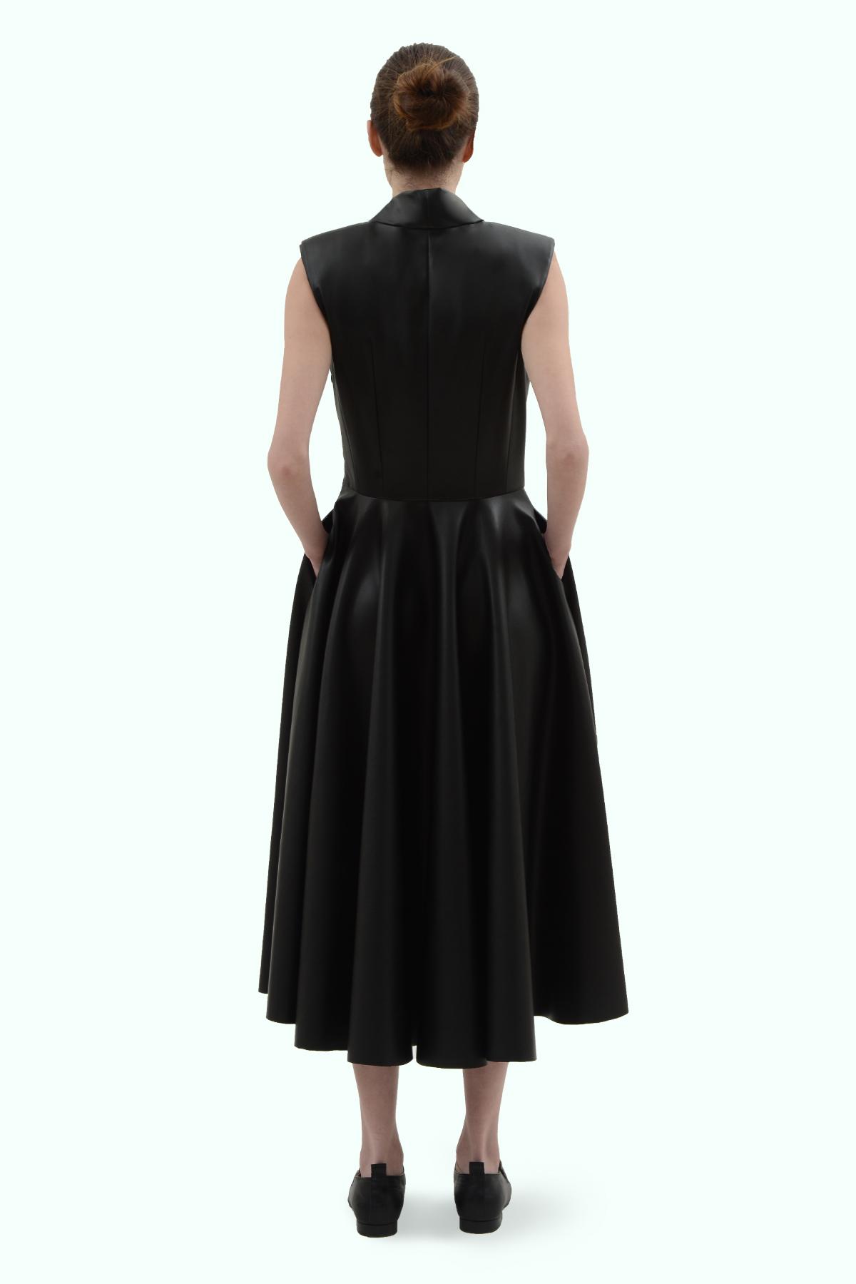 Black vegan leather bow dress 4