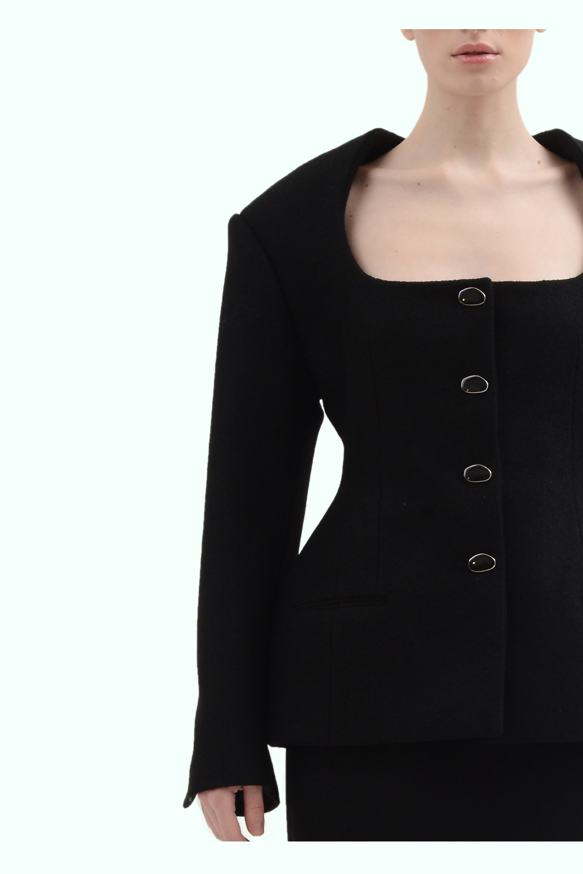 Black wool fitted blazer 3