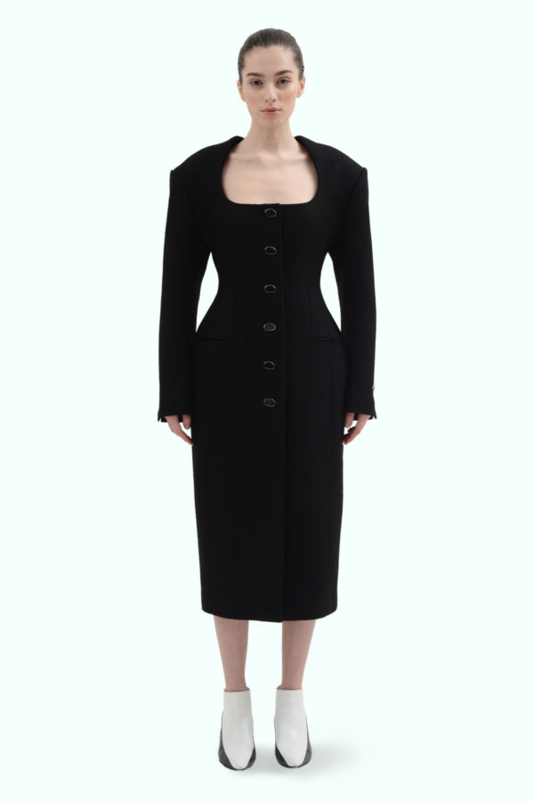 Black wool fitted coat