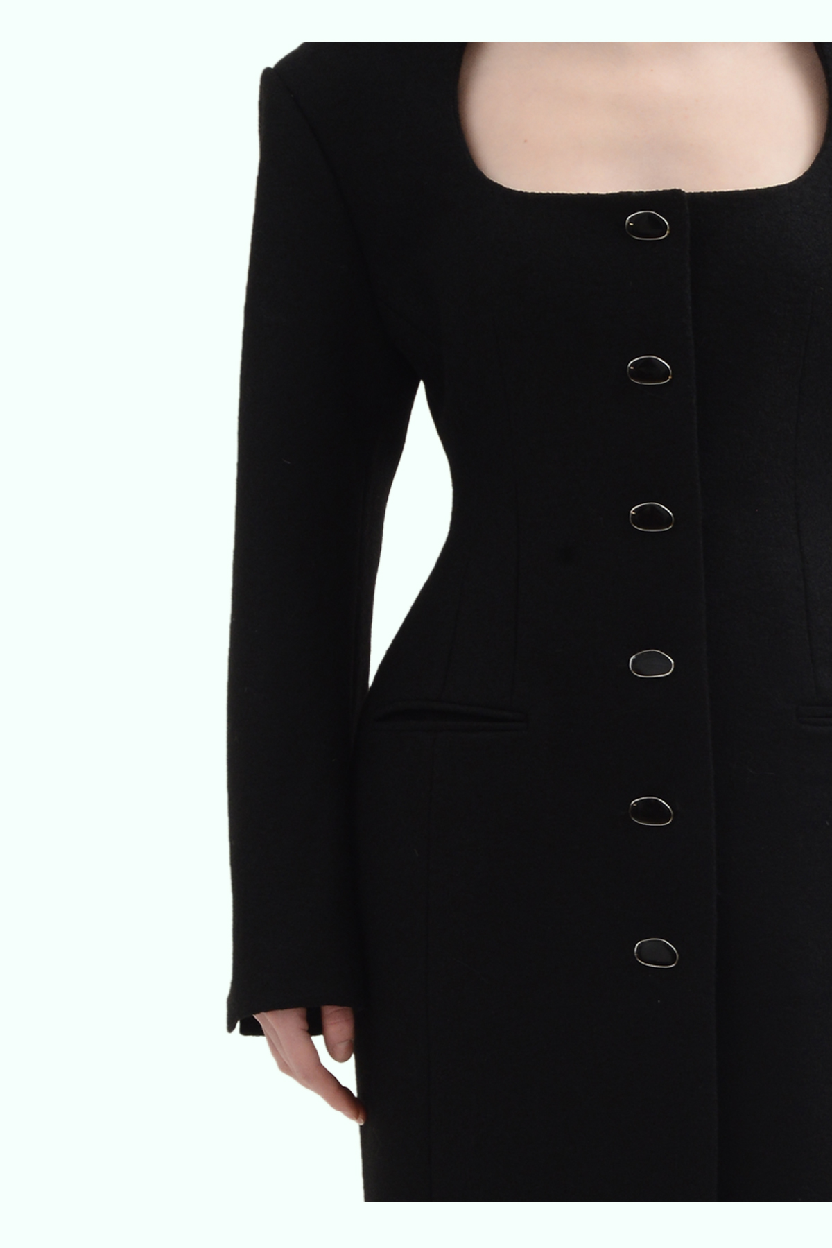Black wool fitted coat 3