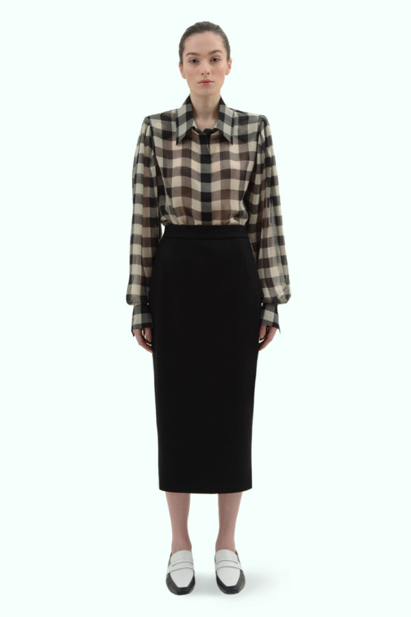 Black wool high waist pencil skirt