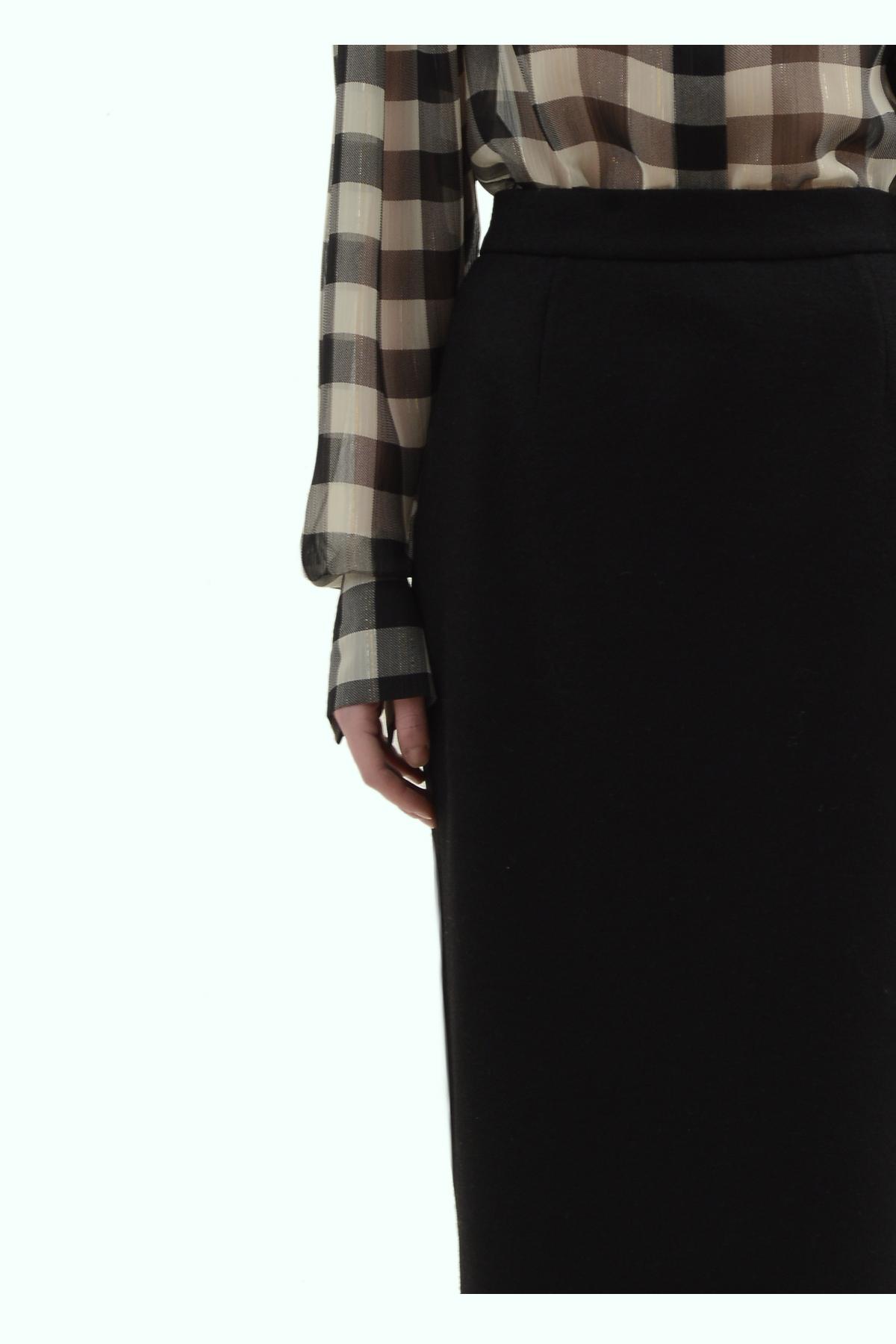 Black wool high waist pencil skirt 3
