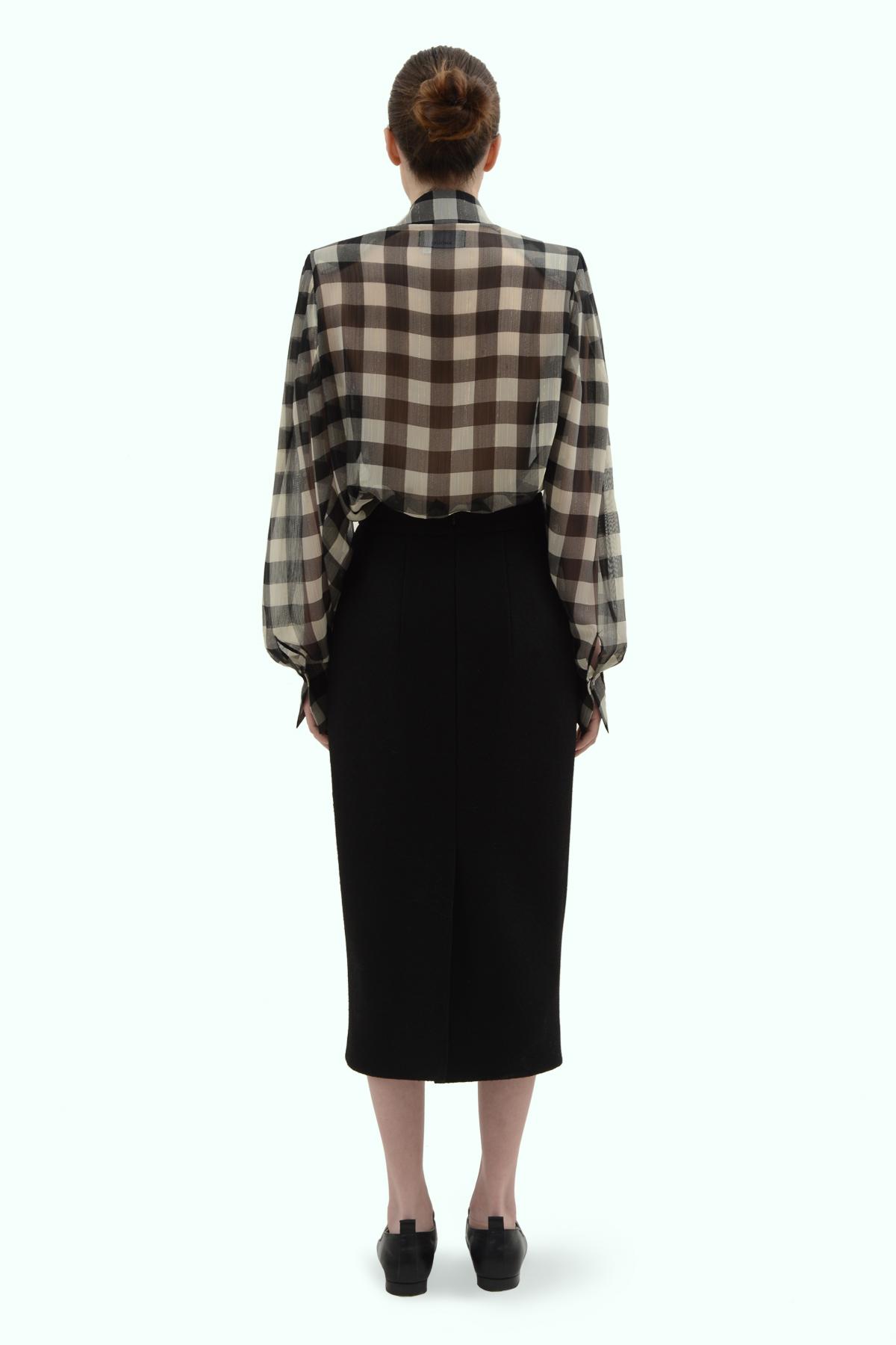 Black wool high waist pencil skirt 4