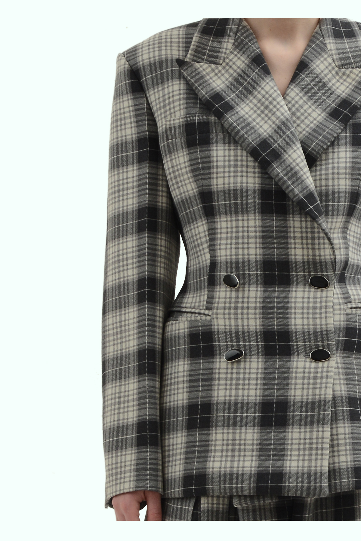 Black and grey check double breast blazer 3