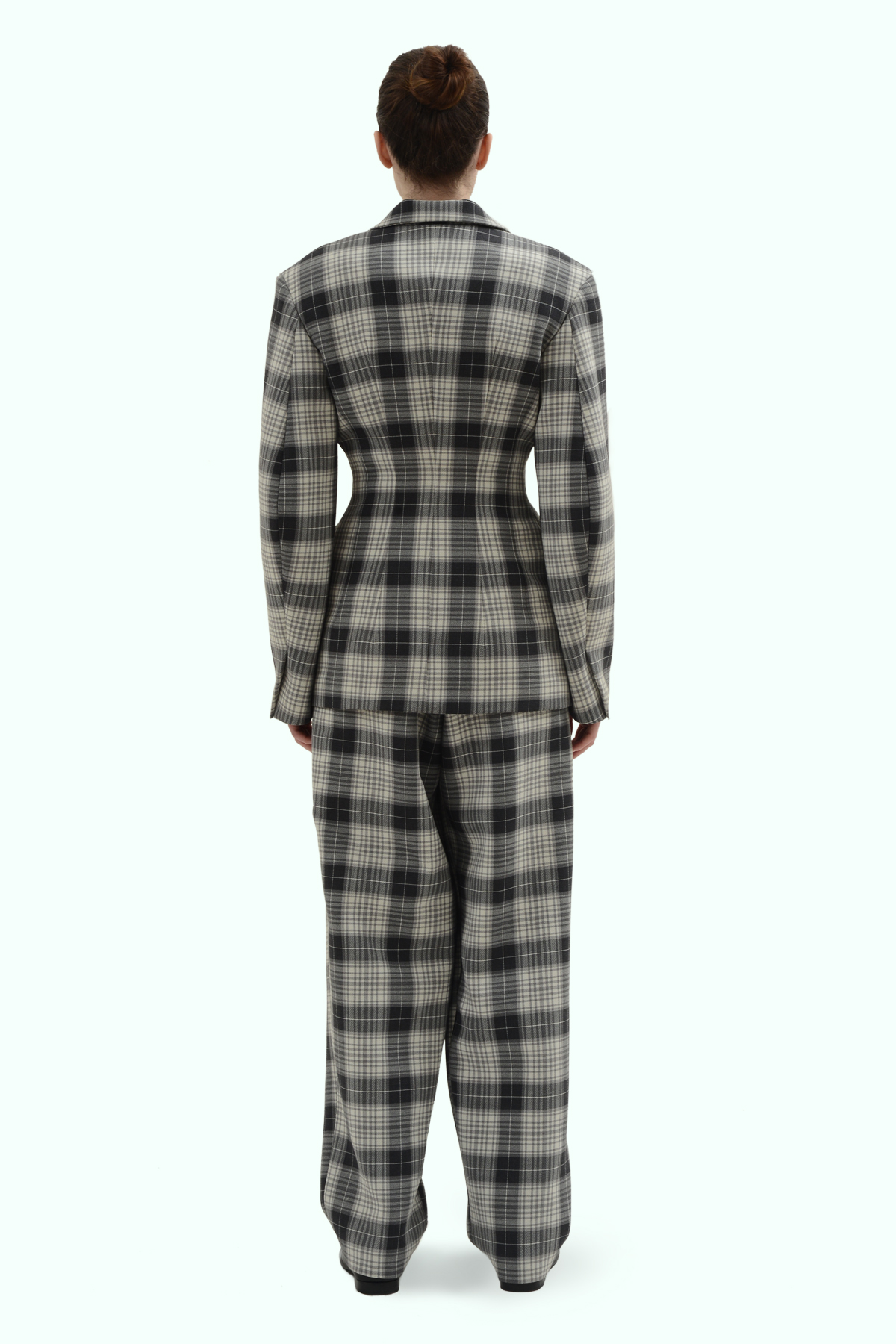 Black and grey check double breast blazer 4