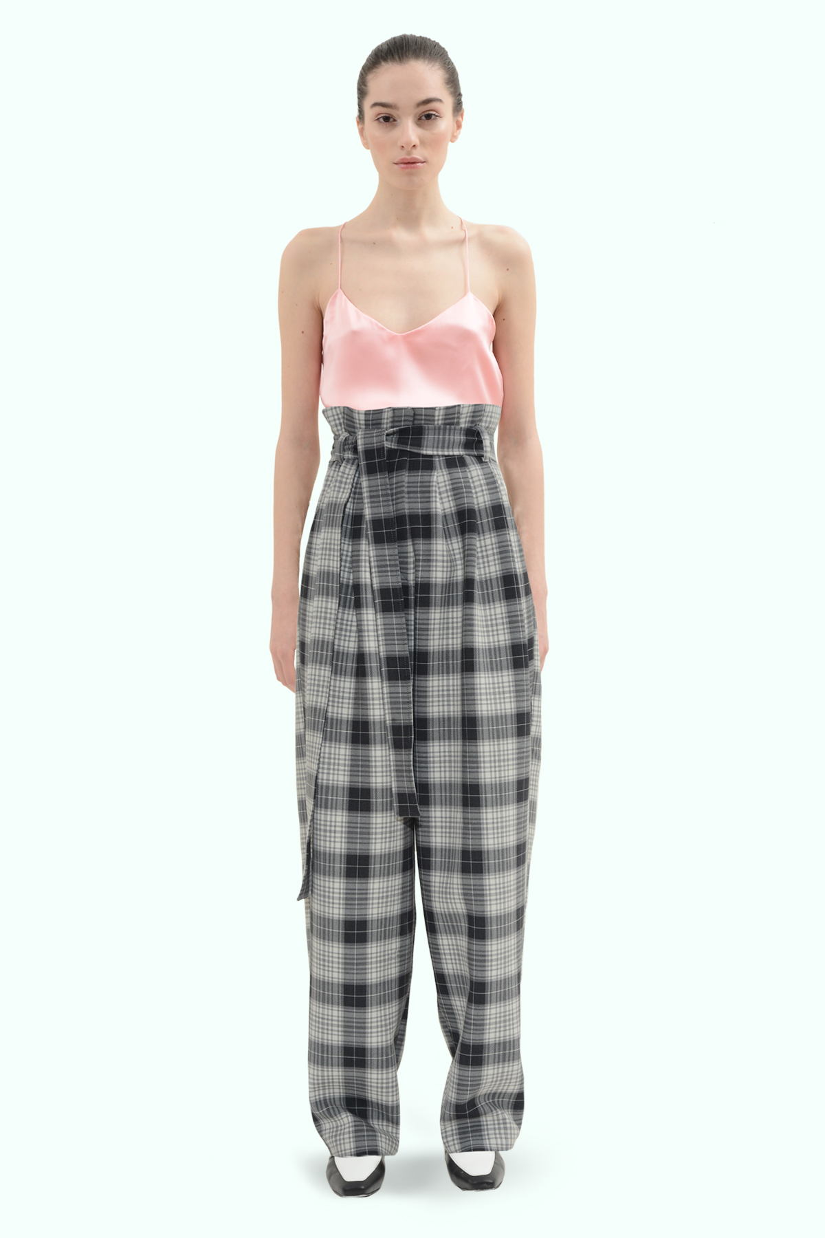 Black and grey check loose fit pants 2