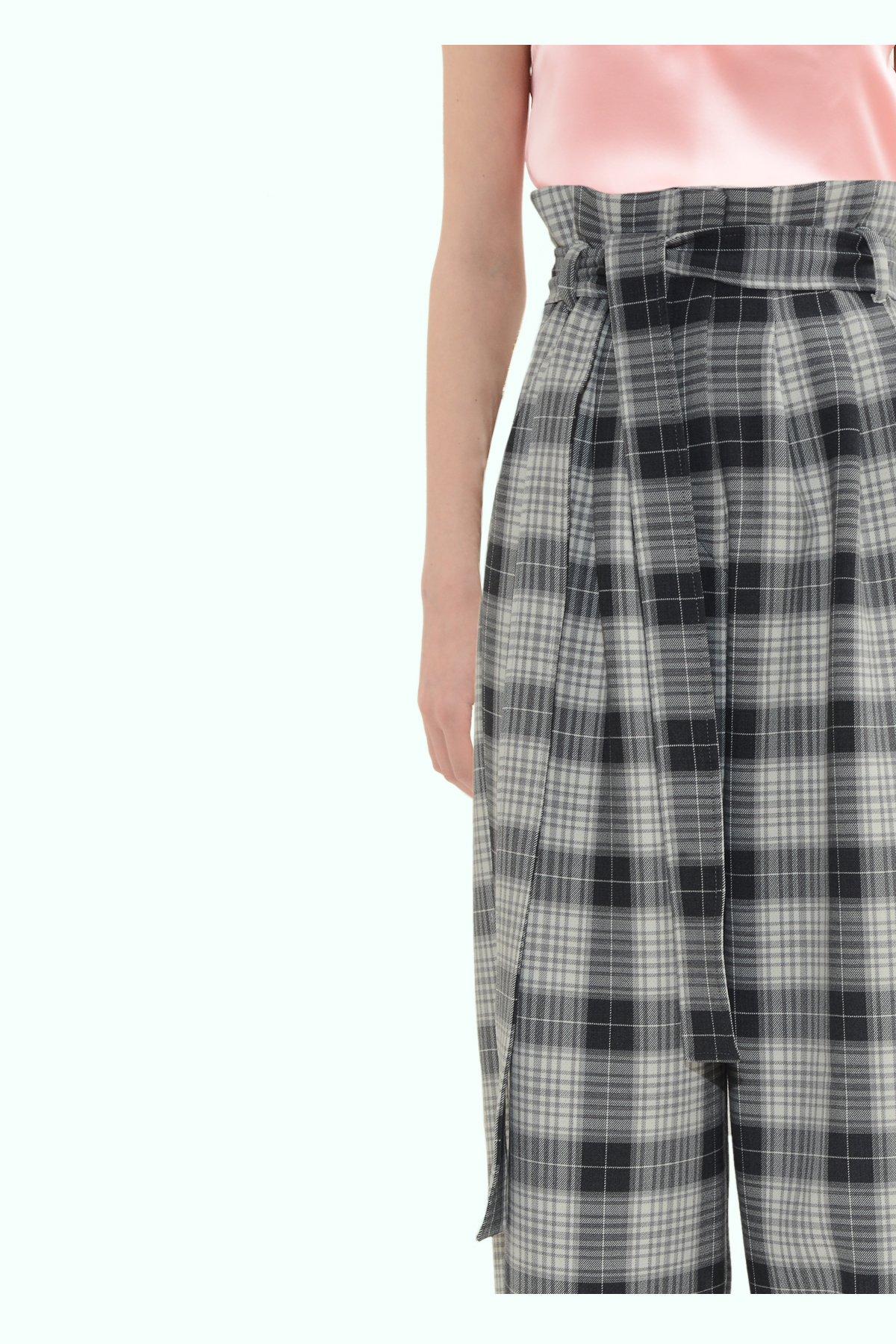 Black and grey check loose fit pants 3