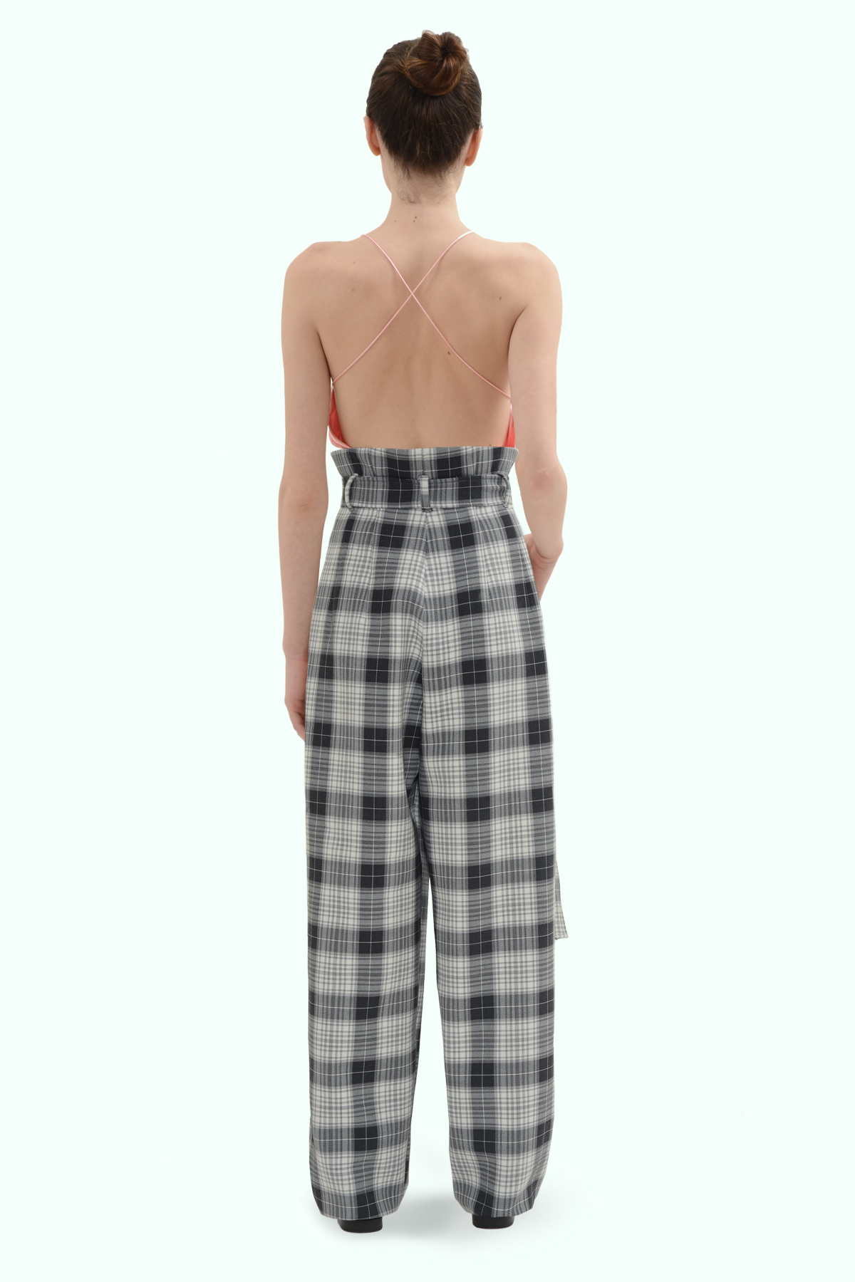 Black and grey check loose fit pants 4