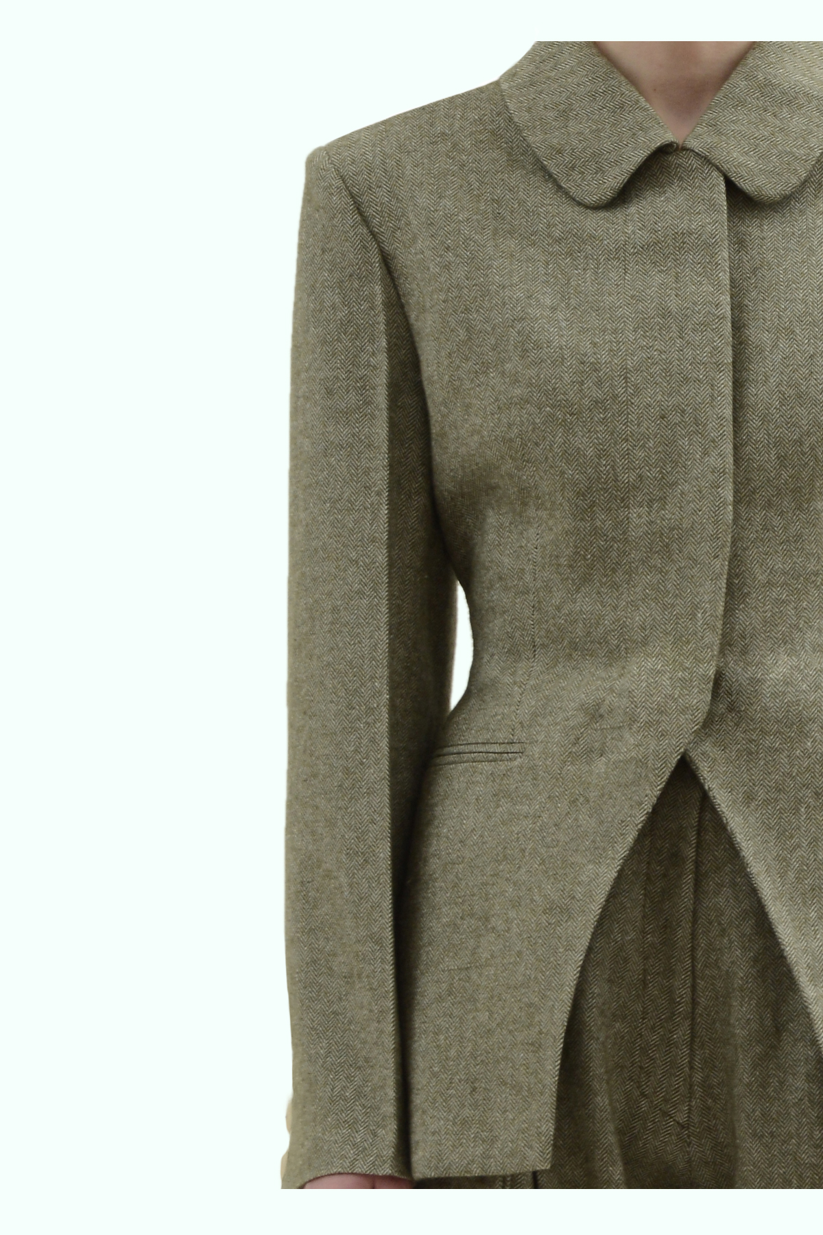 Khaki tweed slim waist single breast blazer 3