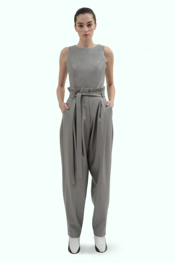 Grey vegan leather pants