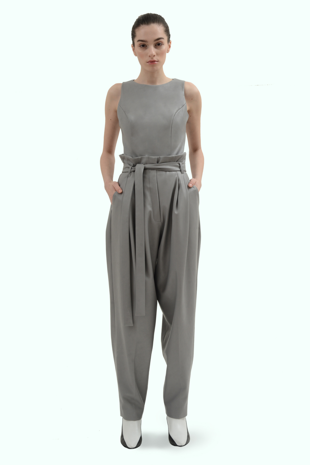 Grey vegan leather pants 2