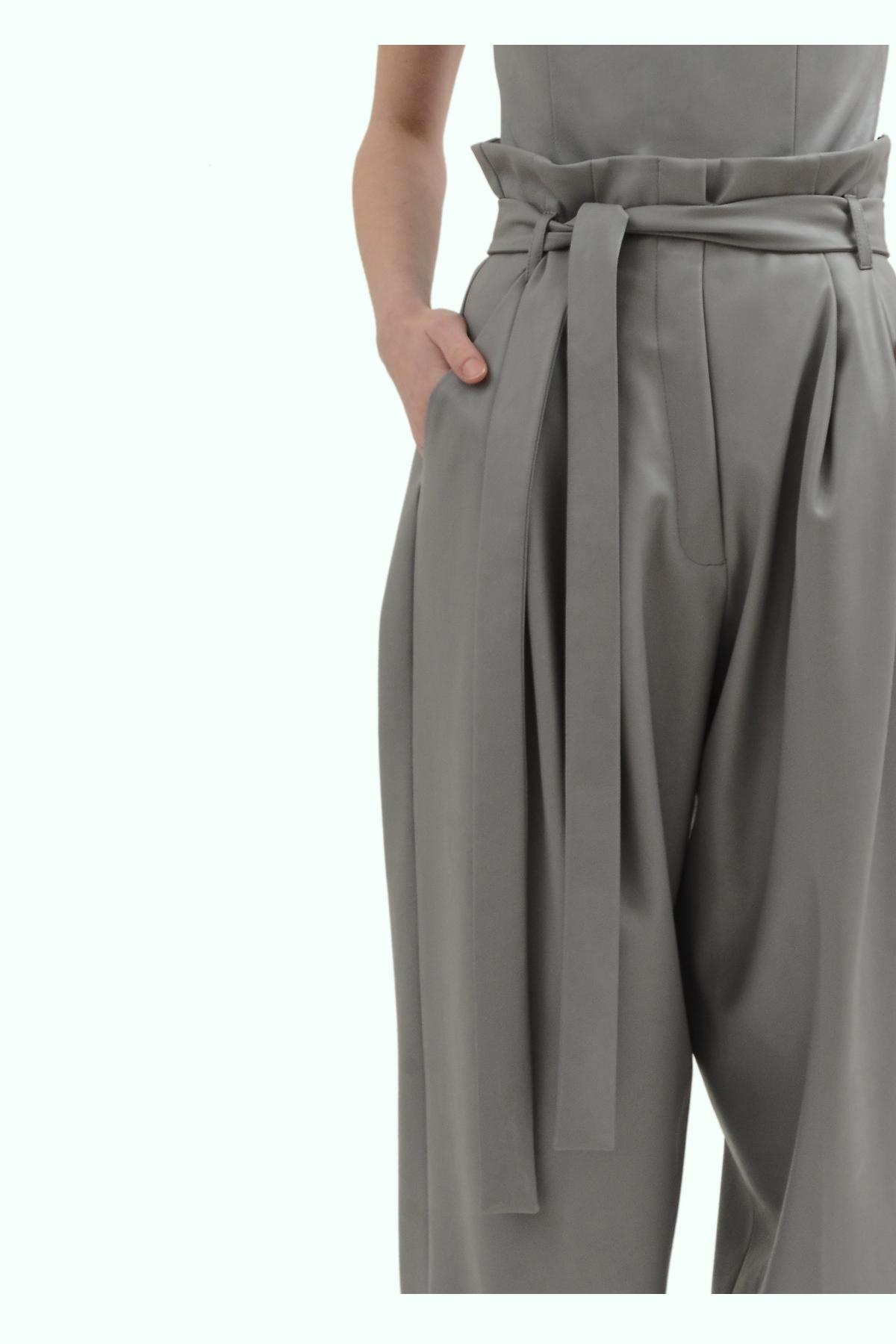 Grey vegan leather pants 3