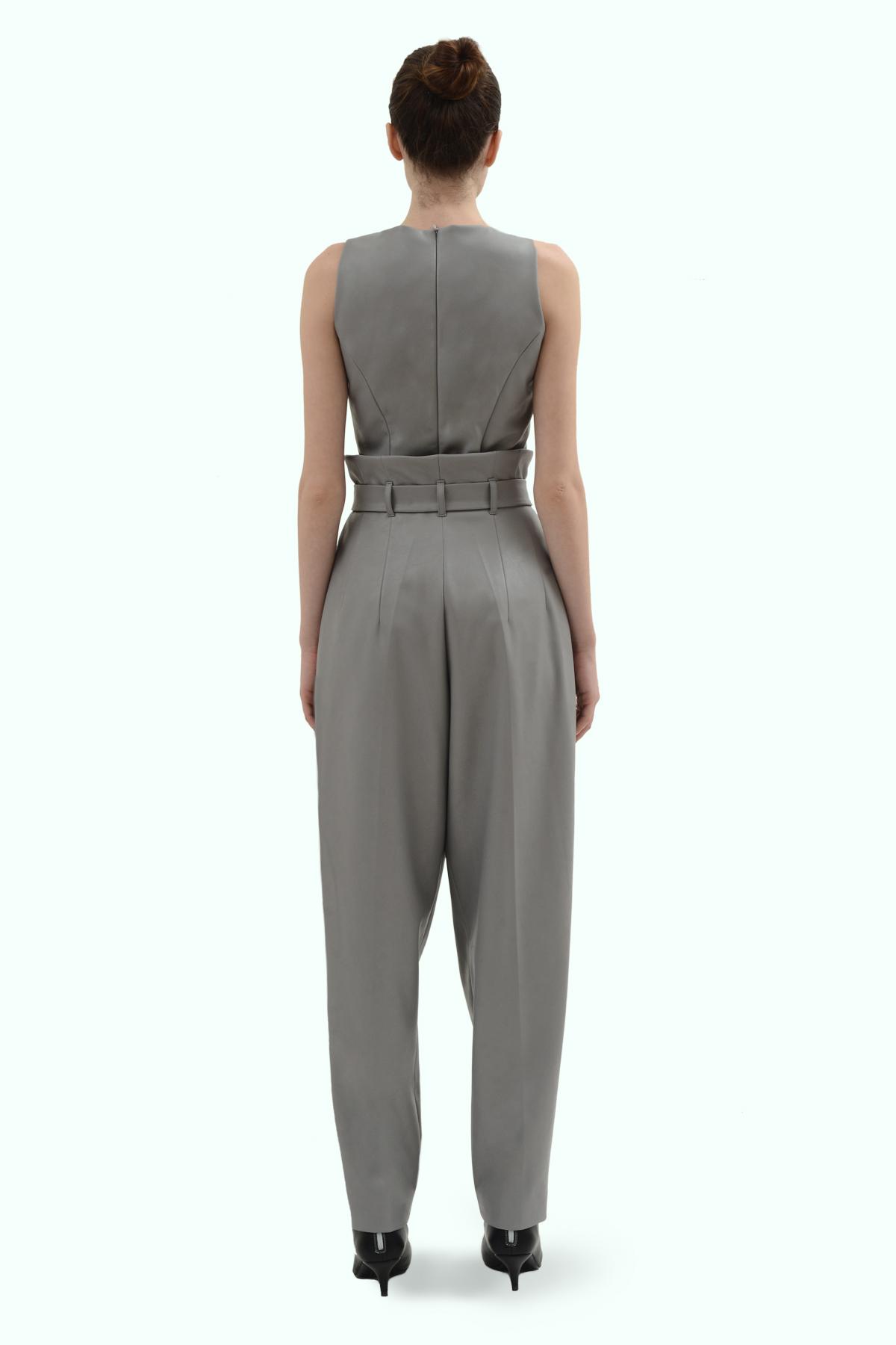 Grey vegan leather pants 4