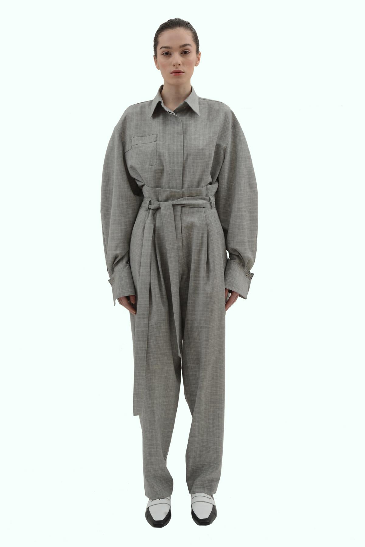Grey wool loose fit high waist pleated pants 2