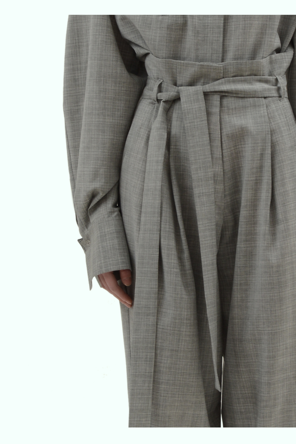 Grey wool loose fit high waist pleated pants 3