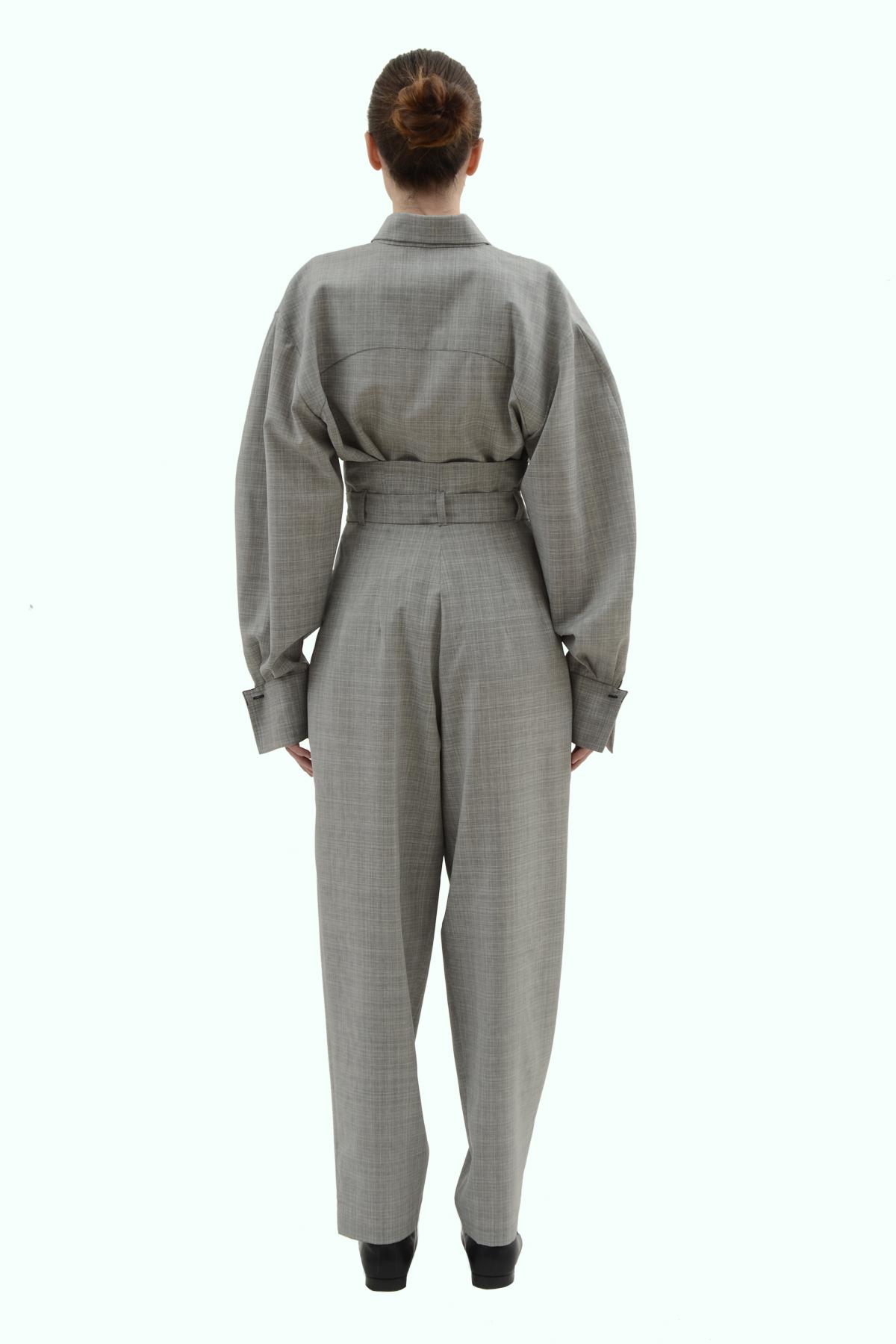 Grey wool loose fit high waist pleated pants 4