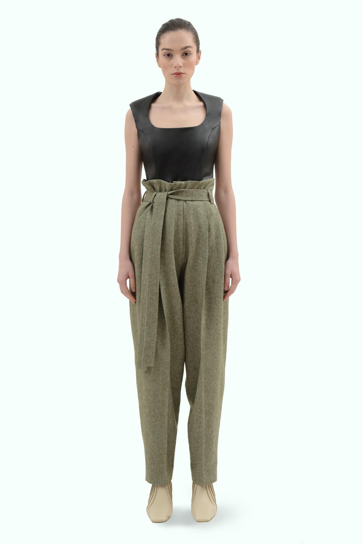 Khaki tweed high waist pants 2
