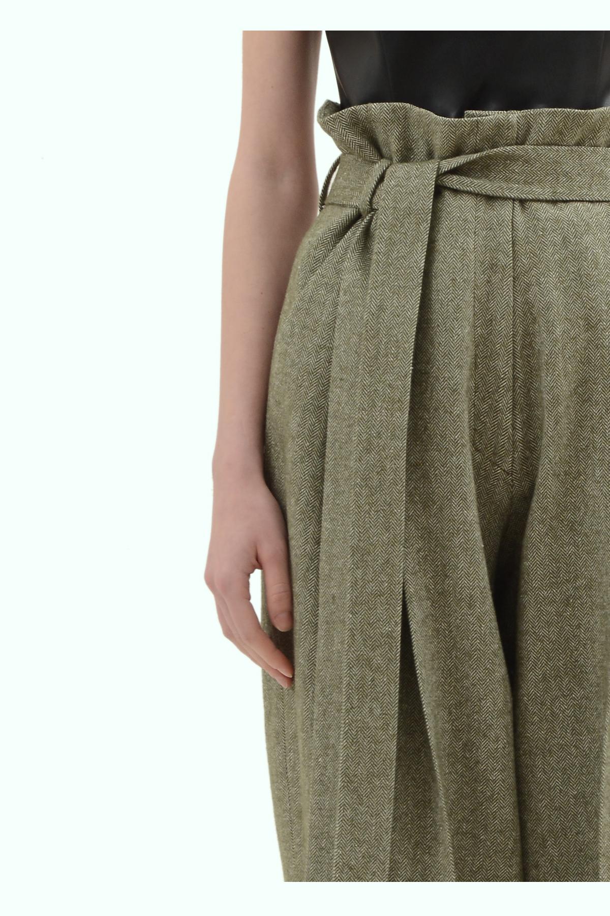 Khaki tweed high waist pants 3