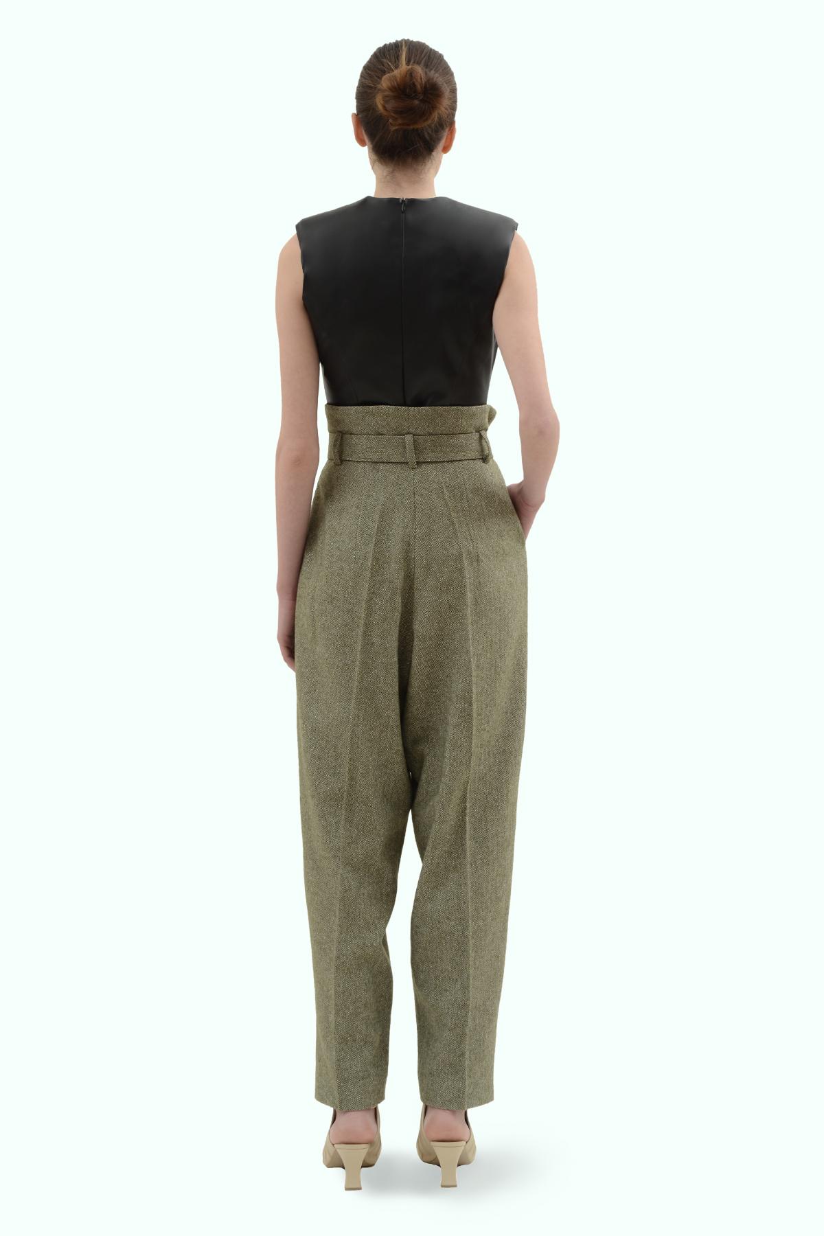 Khaki tweed high waist pants 4