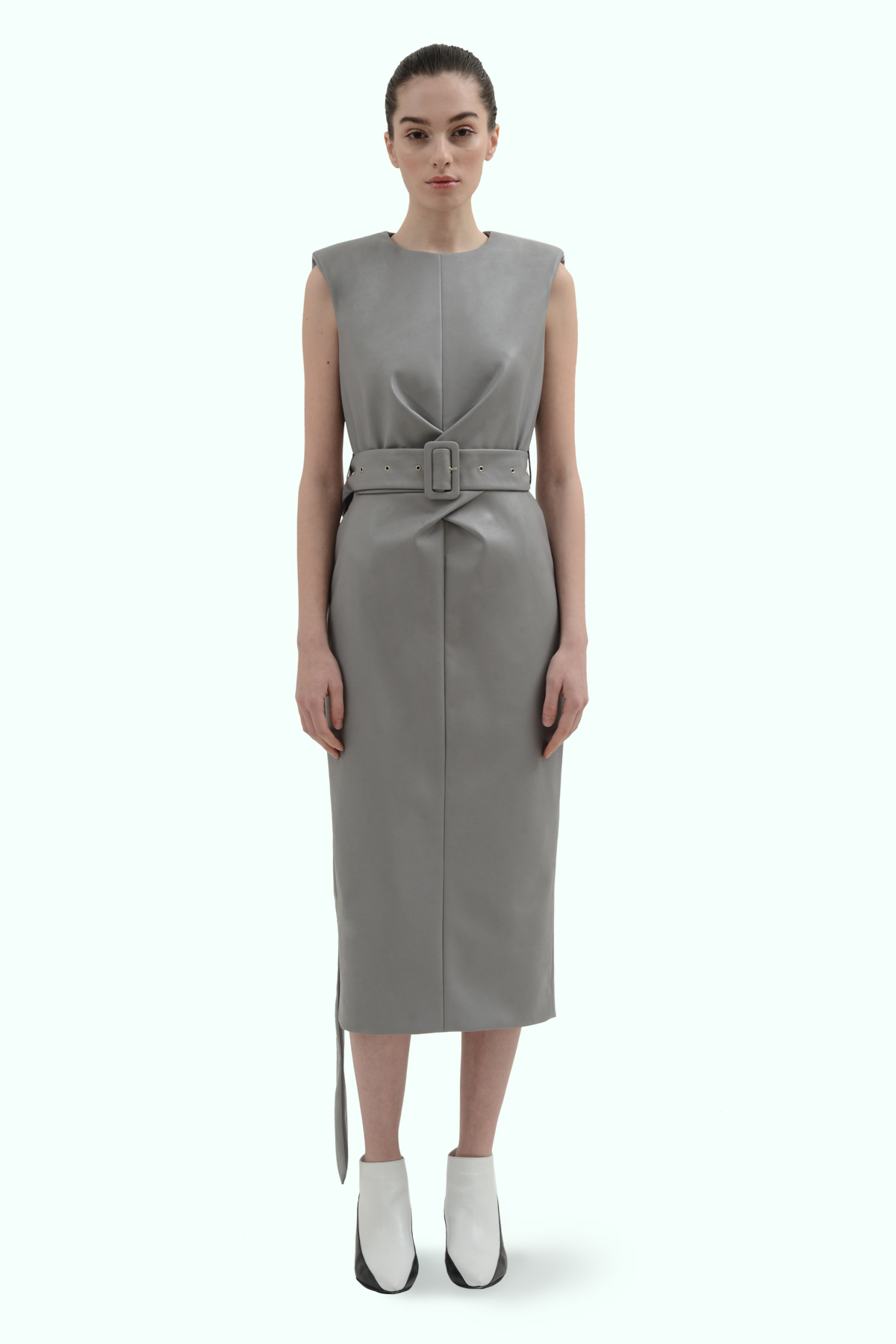 Grey vegan leather dress with cross waistline 2