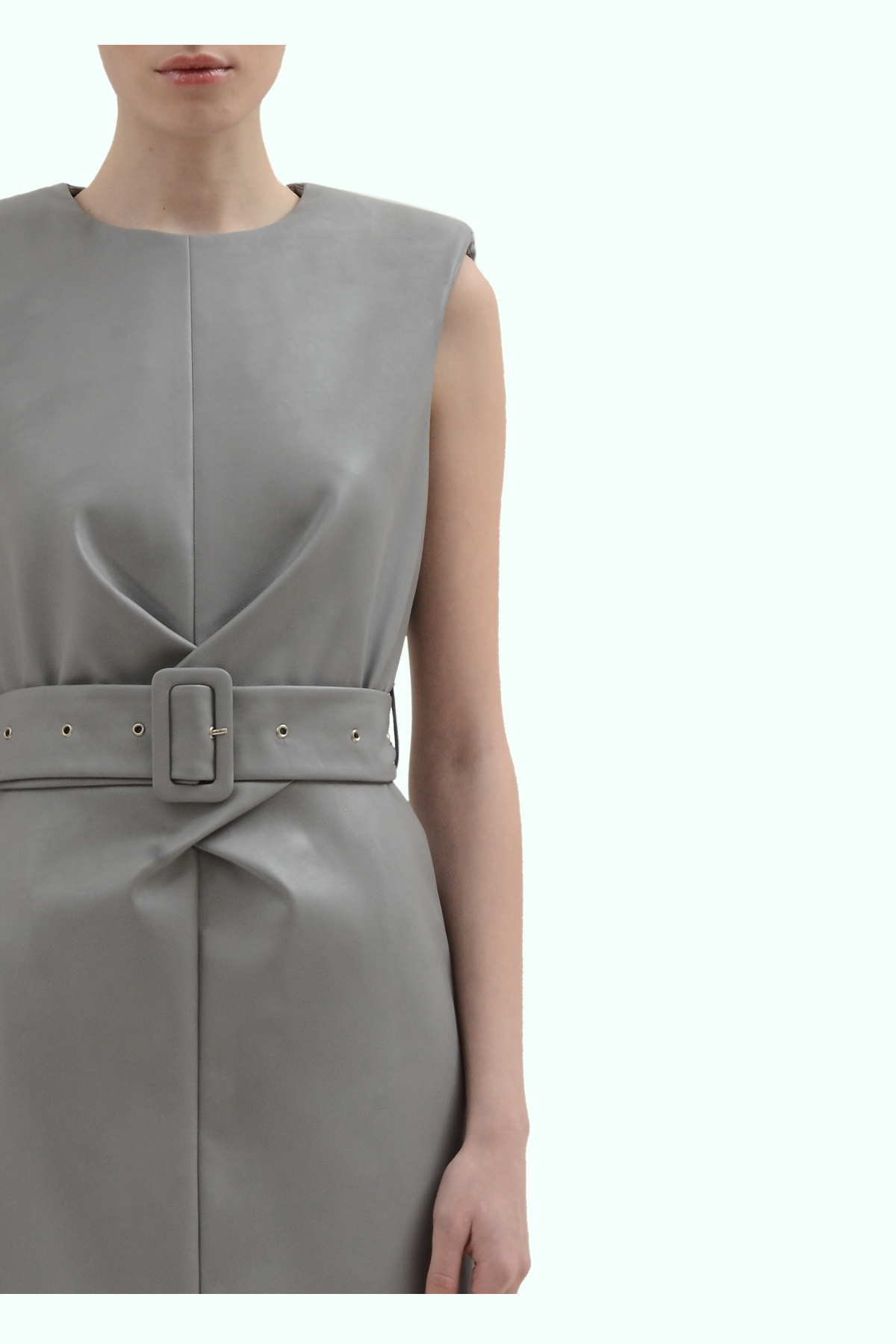 Grey vegan leather dress with cross waistline 3