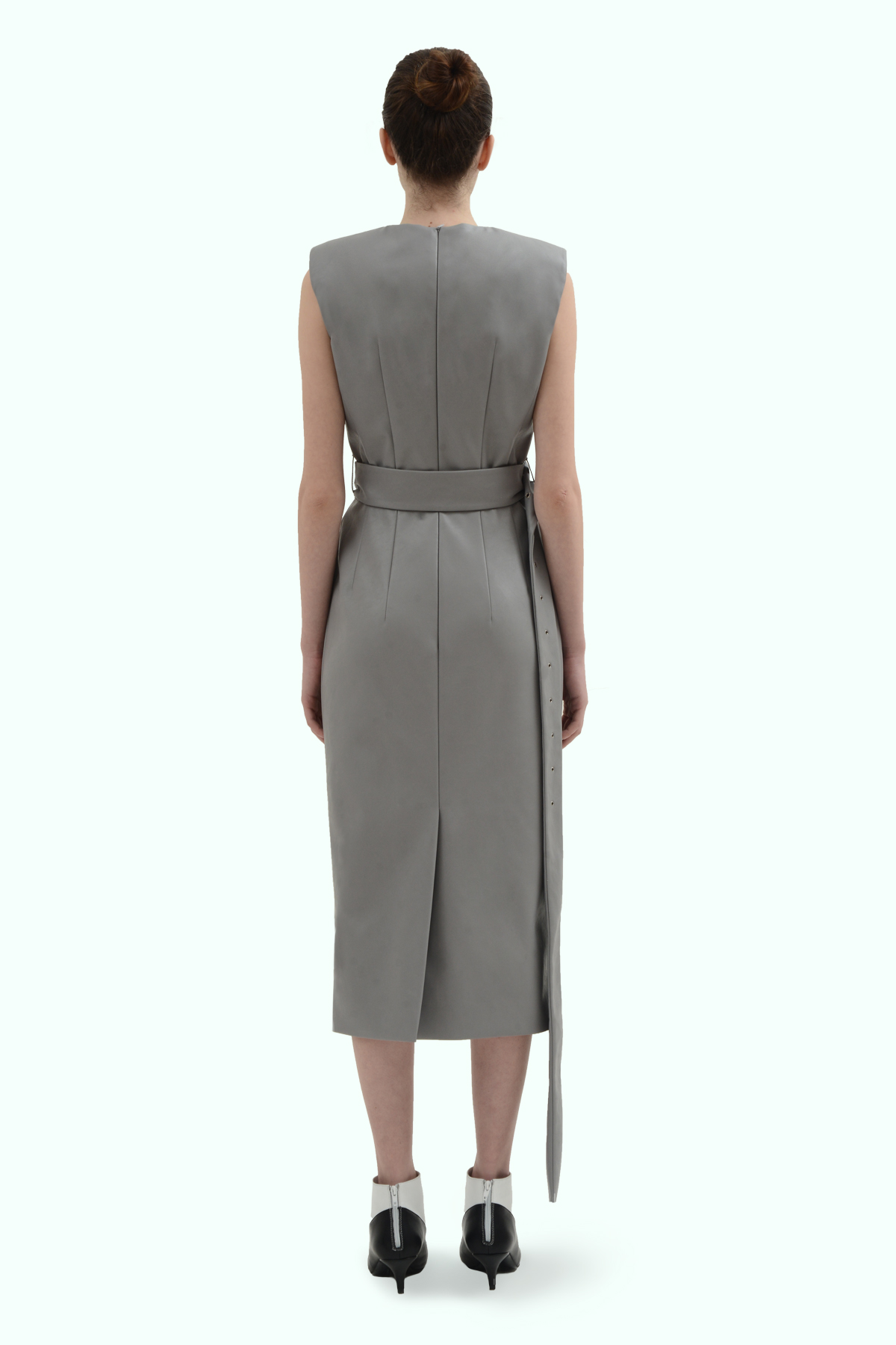 Grey vegan leather dress with cross waistline 4