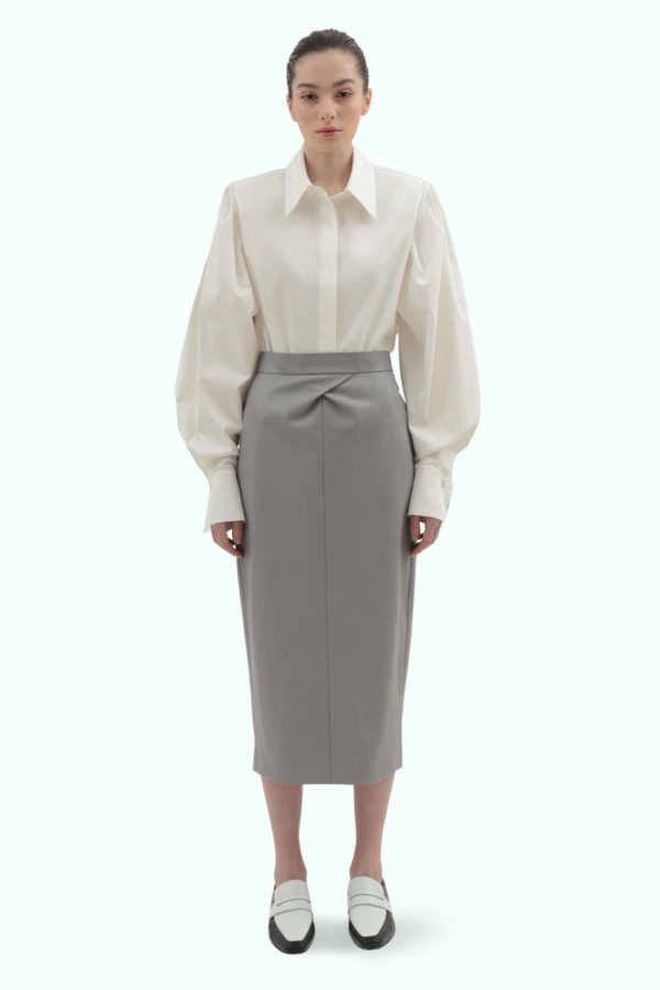 Grey vegan leather pencil skirt