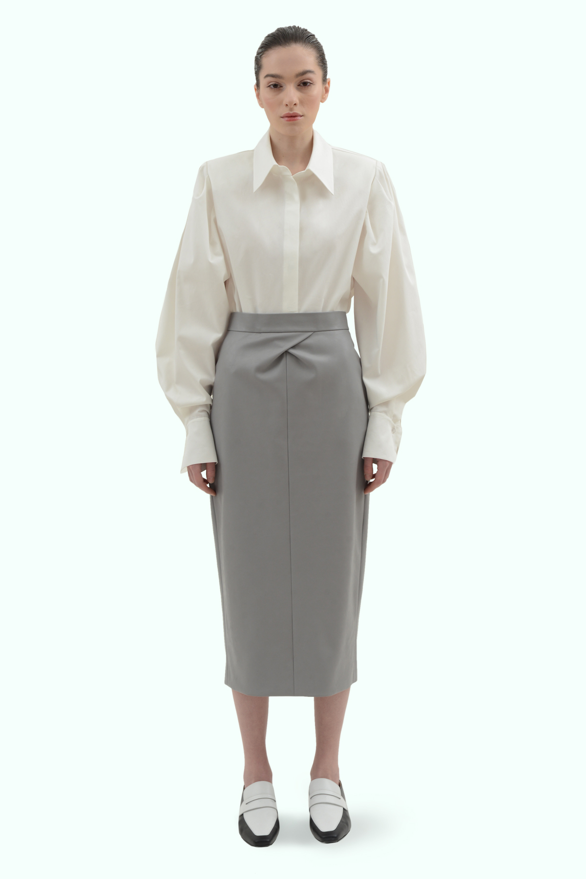 Grey vegan leather pencil skirt 2