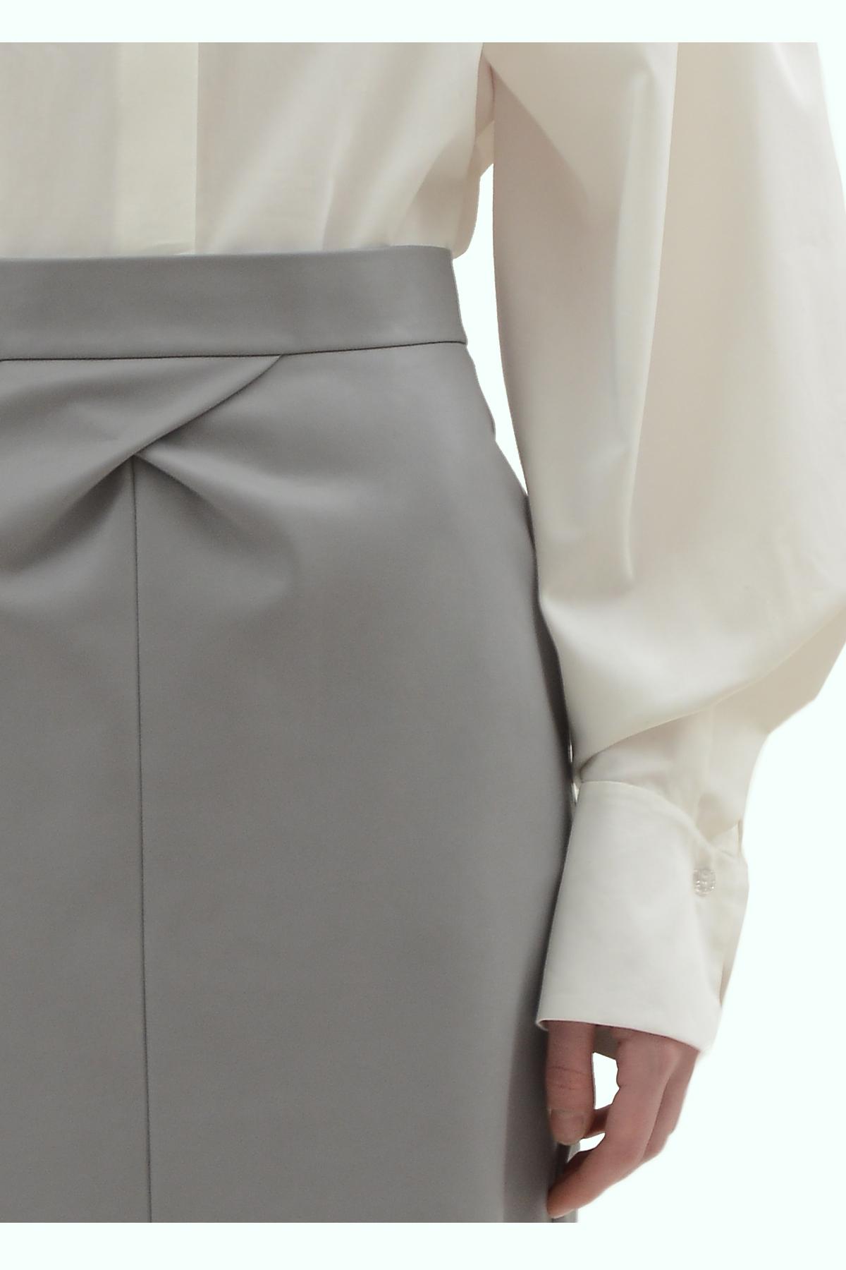 Grey vegan leather pencil skirt 3