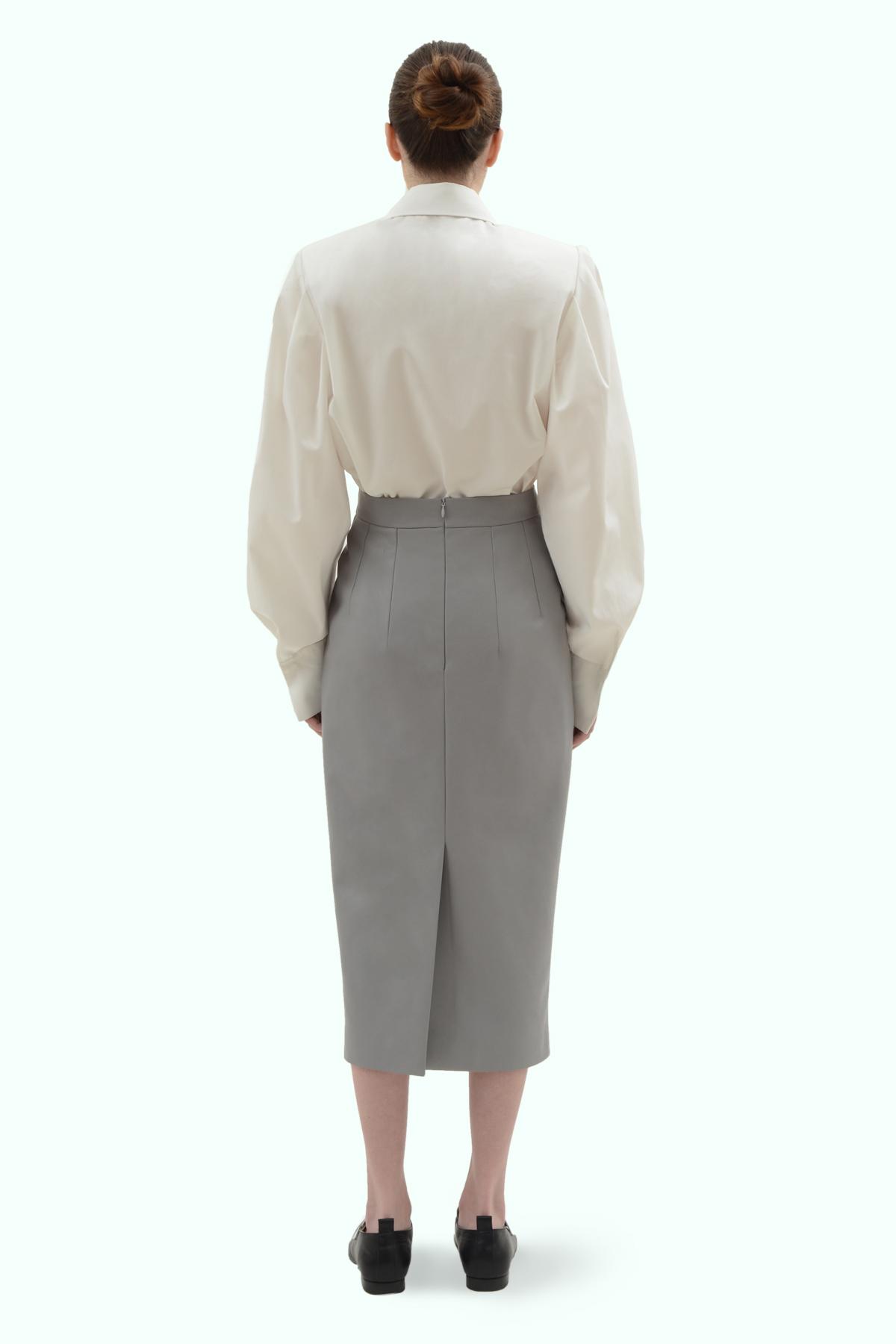 Grey vegan leather pencil skirt 4