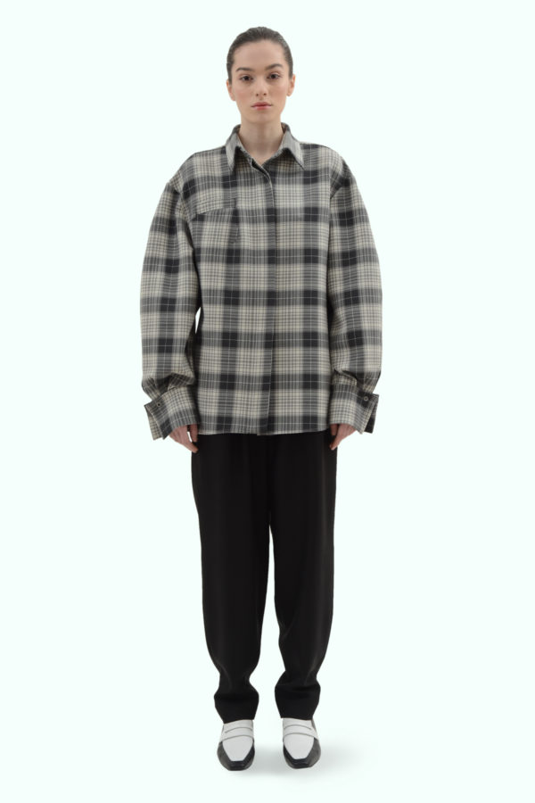 Black and grey check loose fit shirt