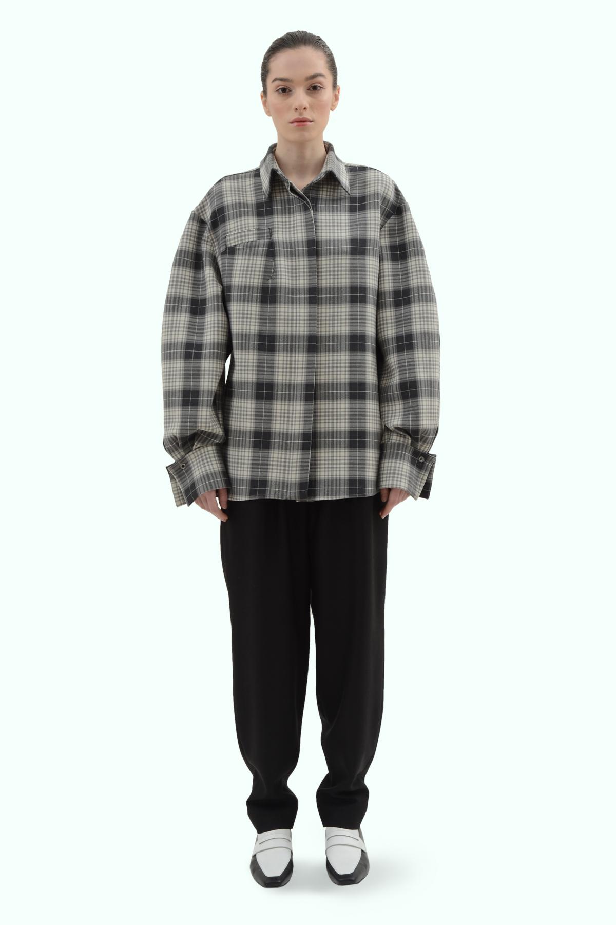 Black and grey check loose fit shirt 2