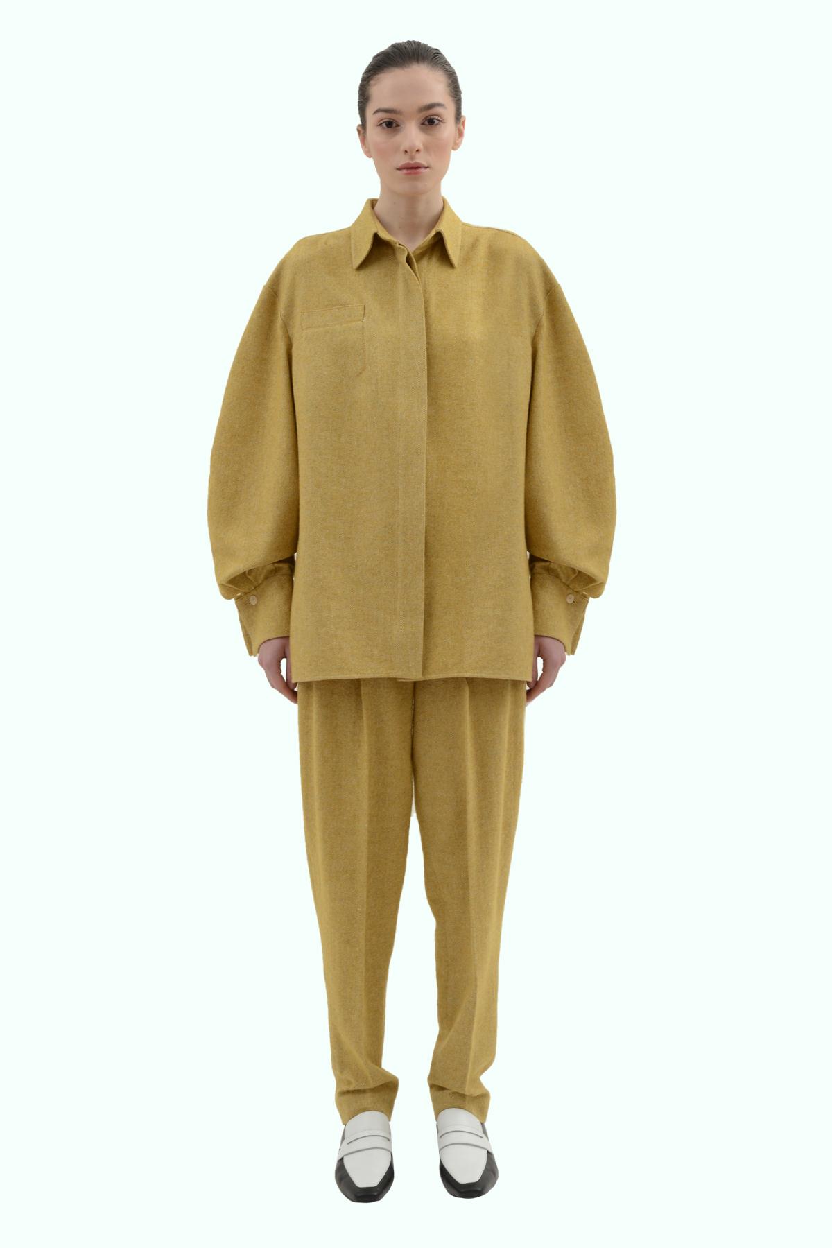 Mustard tweed loose fit shirt 2