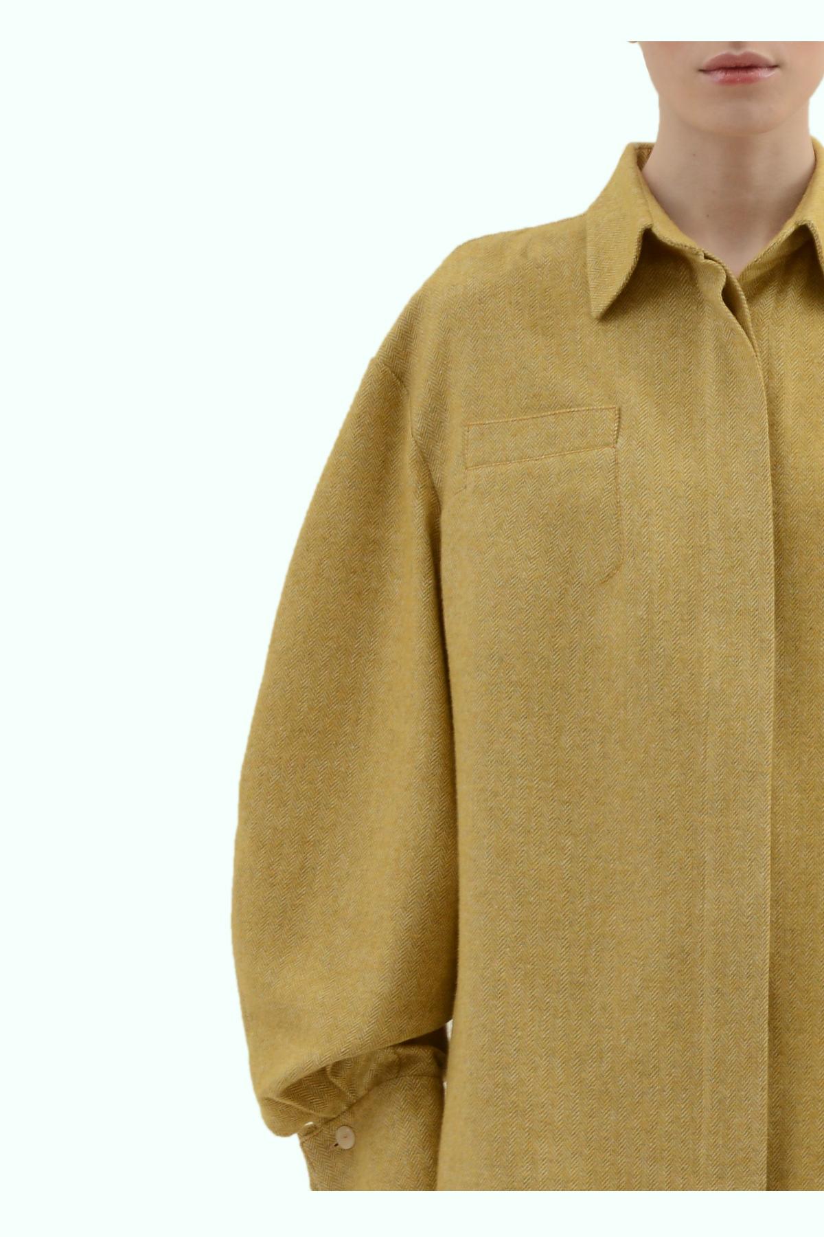 Mustard tweed loose fit shirt 3
