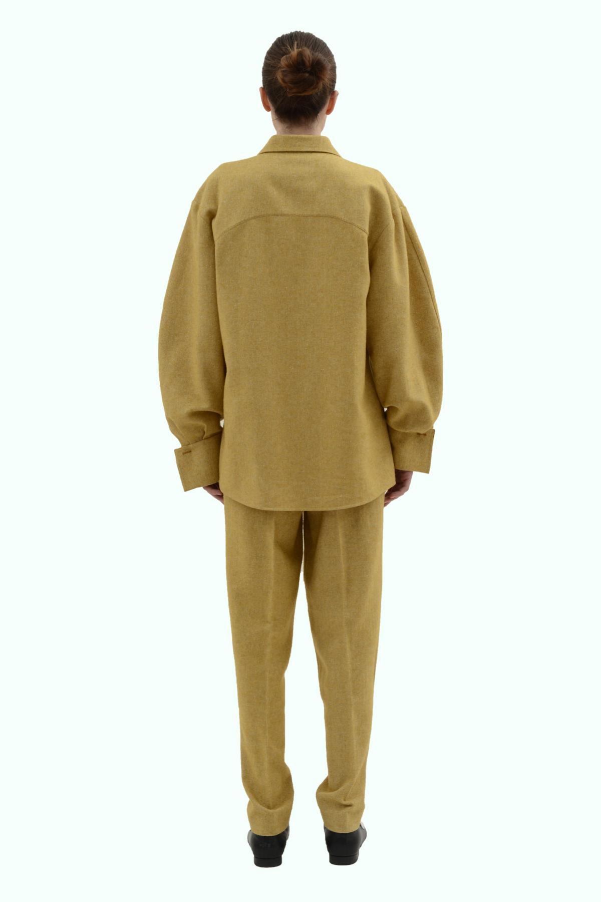 Mustard tweed loose fit shirt 4