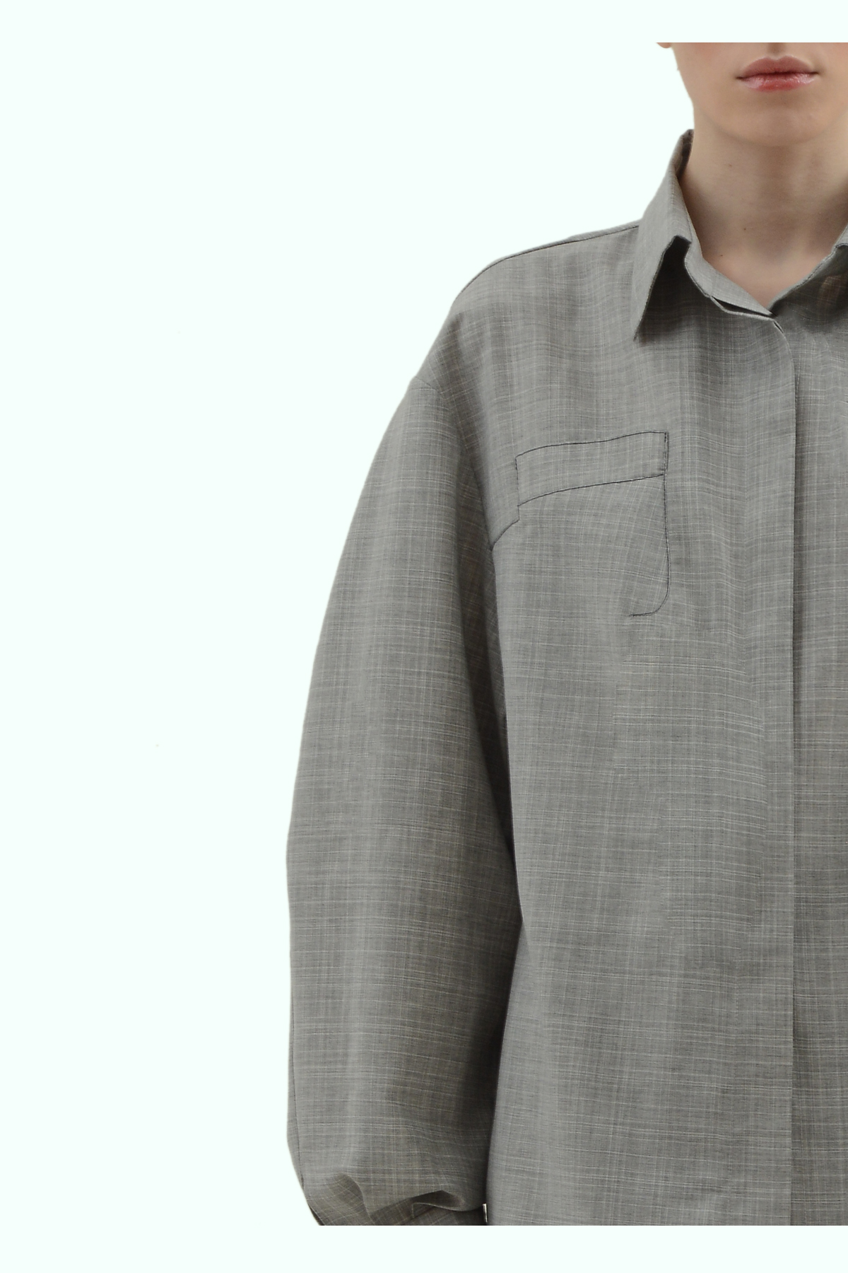 Grey wool loose fit shirt 3