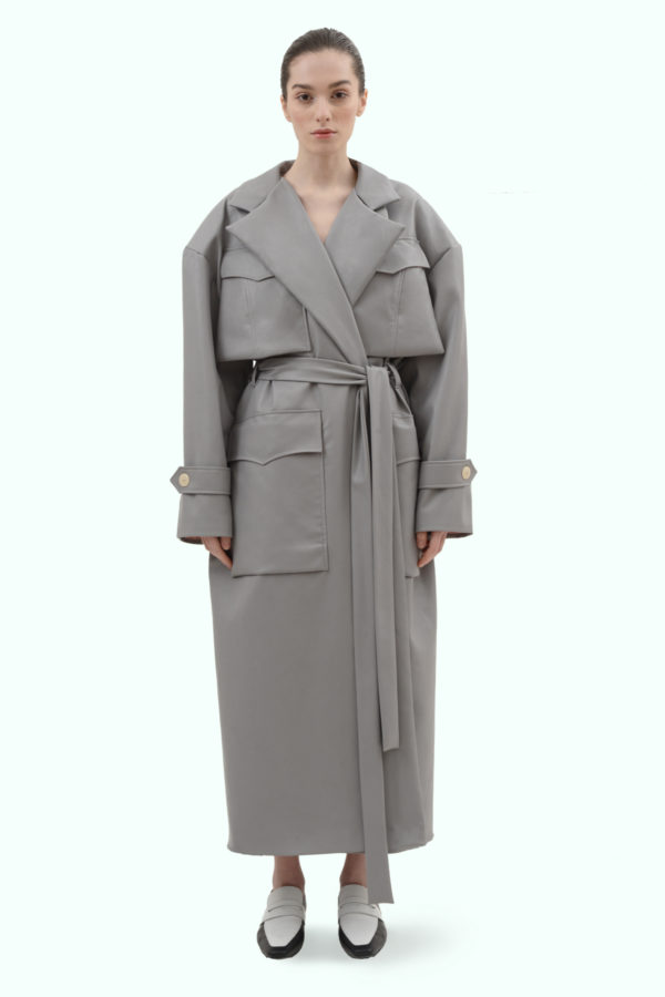 Grey vegan leather oversized coat