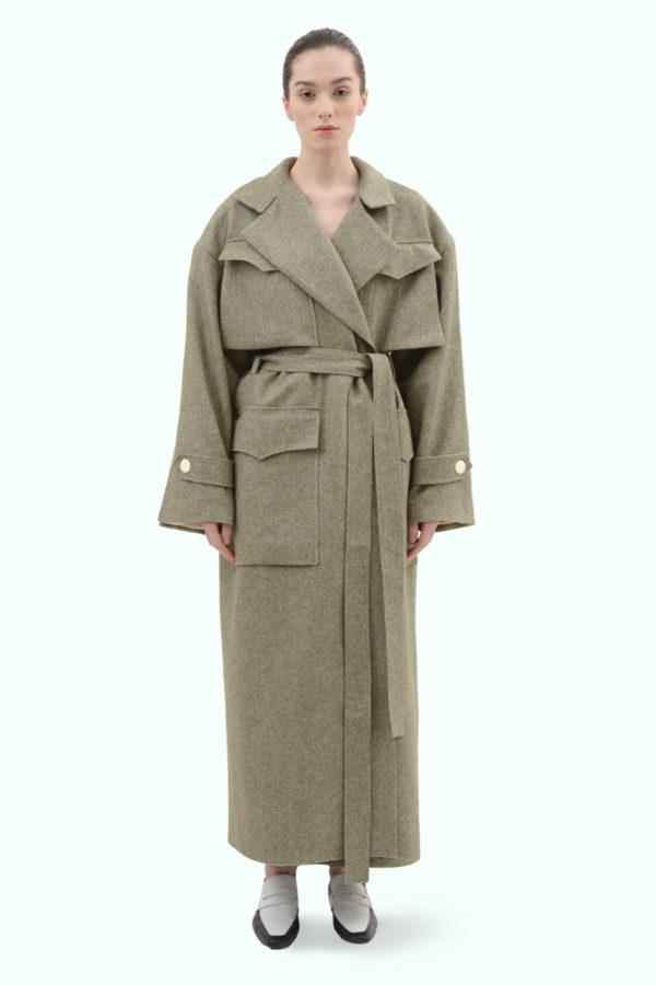 Khaki tweed oversized coat