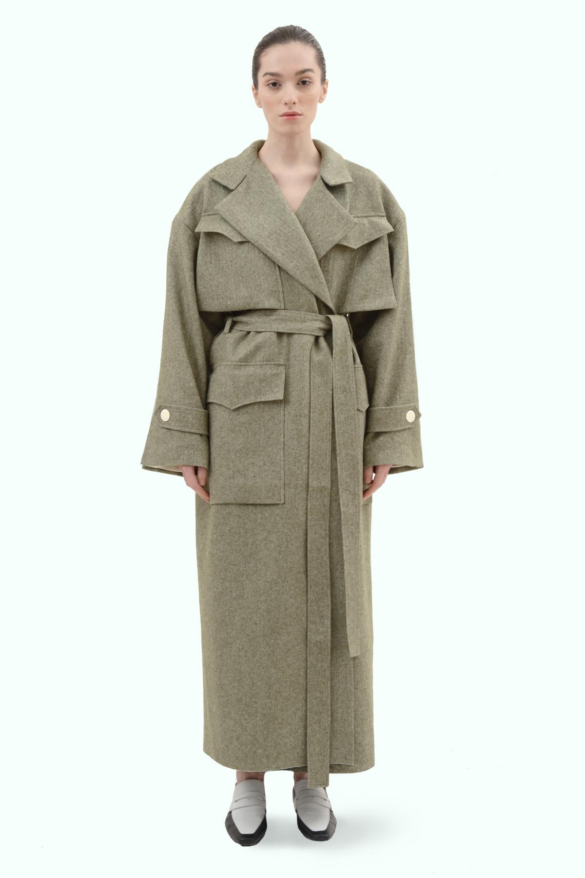 Khaki tweed oversized coat 2