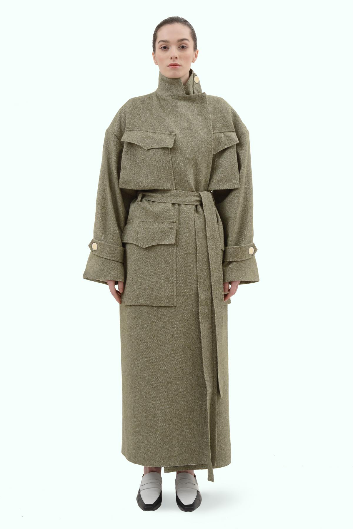 Khaki tweed oversized coat 3