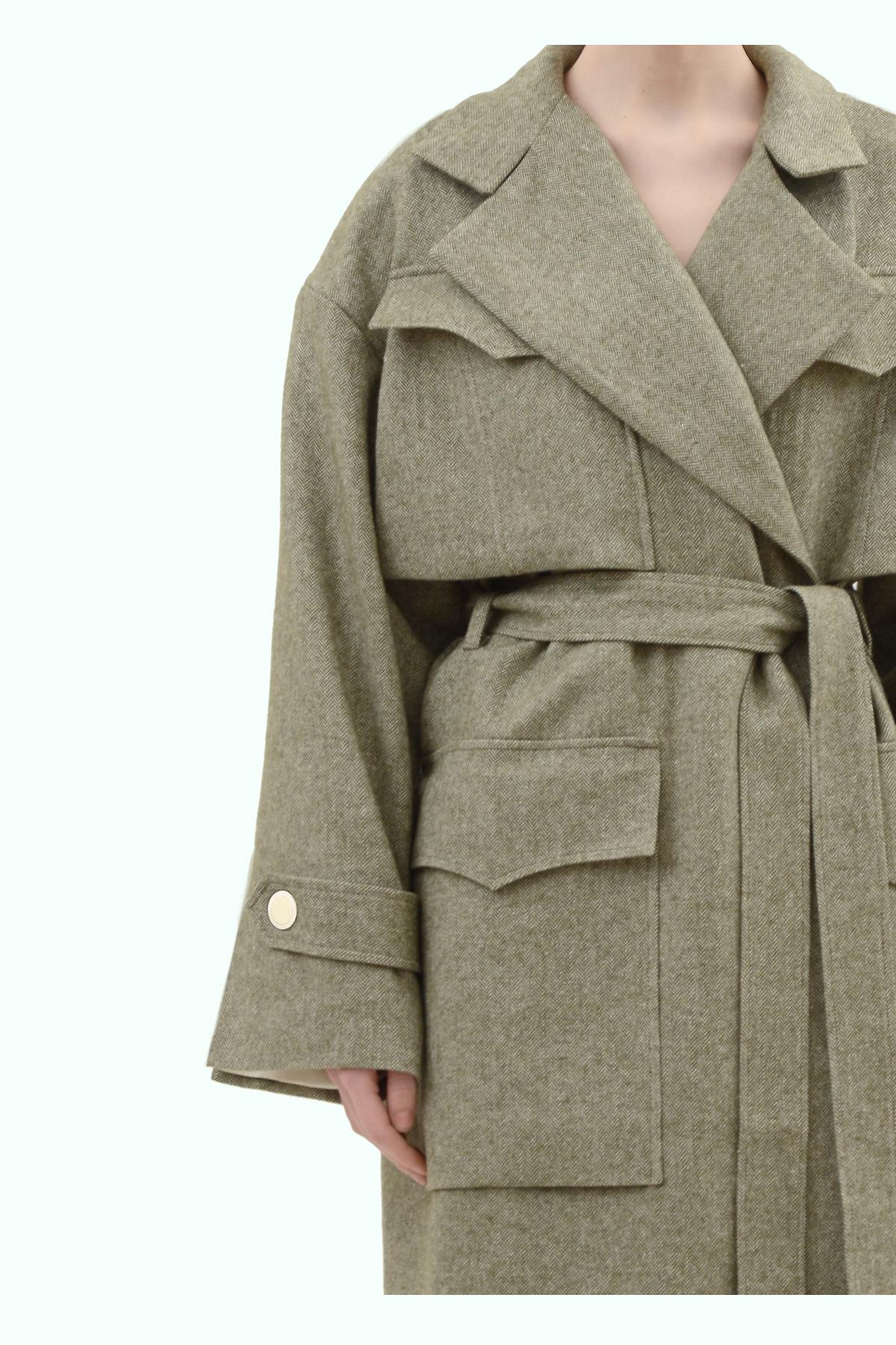 Khaki tweed oversized coat 4