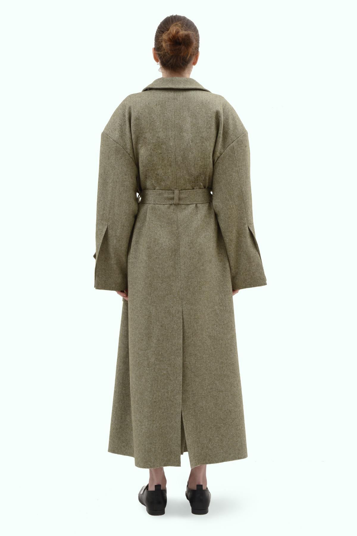 Khaki tweed oversized coat 5