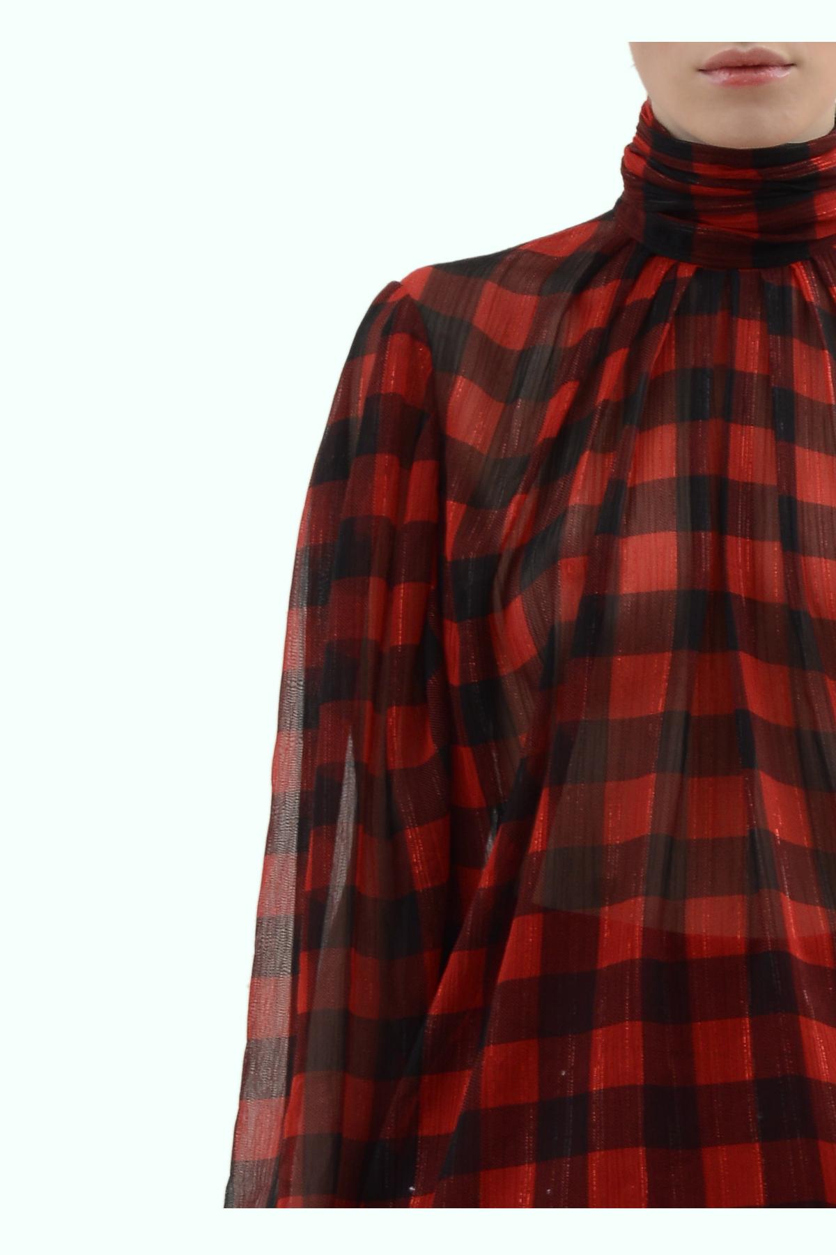 Black and red check chiffon draped turtleneck 3