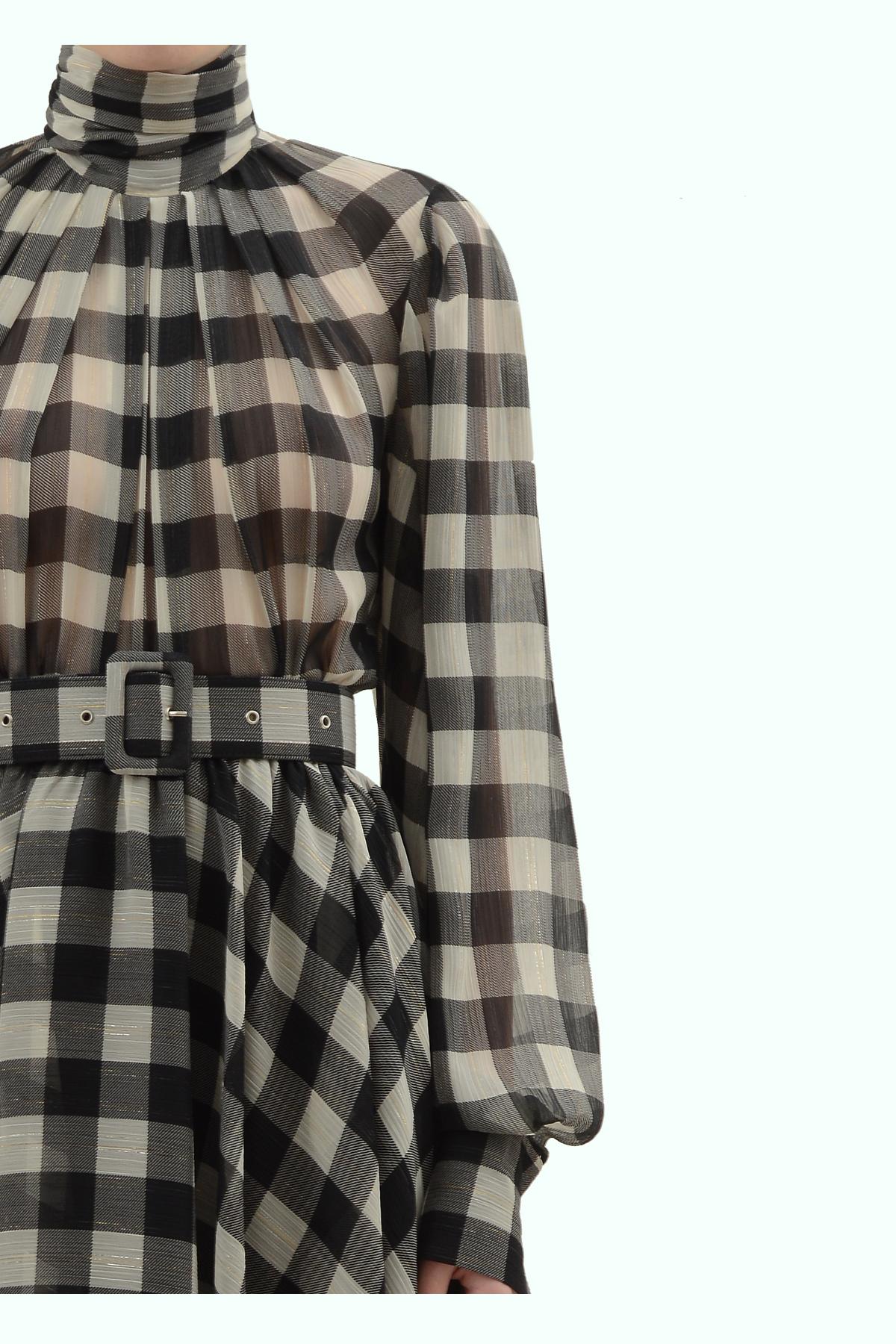 Black and light grey check chiffon flare dress 3