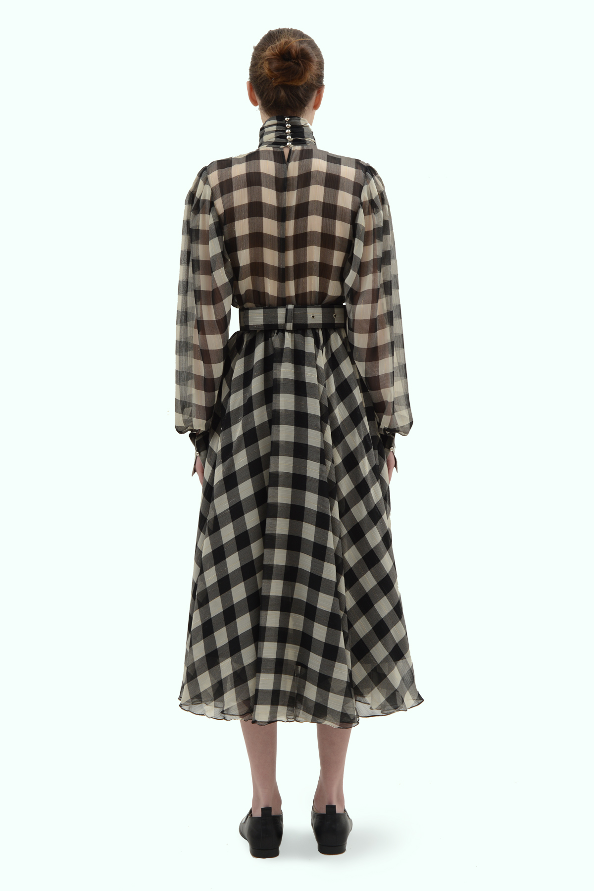 Black and light grey check chiffon flare dress 4