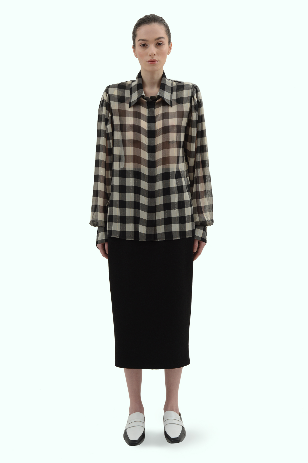 Black and light grey check chiffon shirt 2