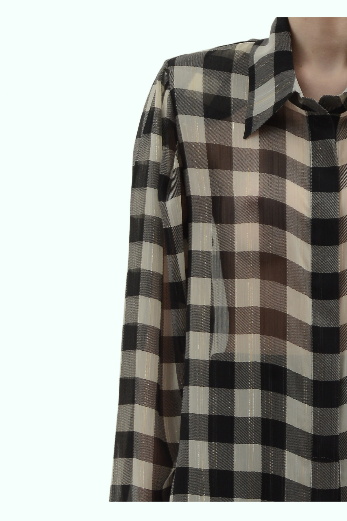 Black and light grey check chiffon shirt 3