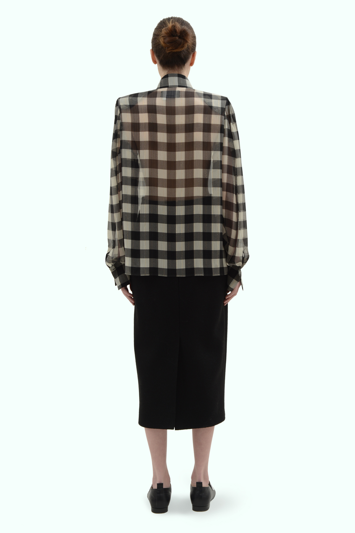 Black and light grey check chiffon shirt 4